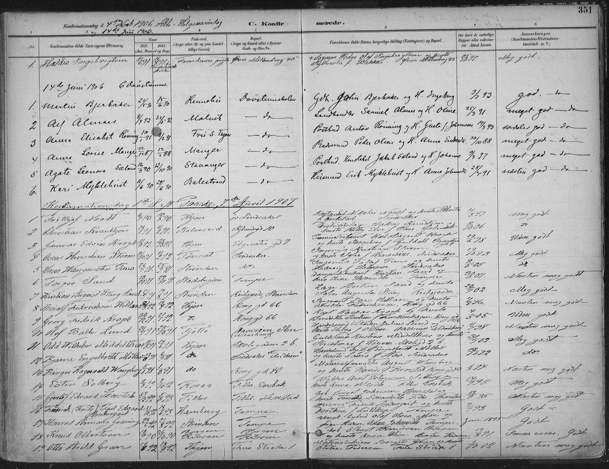 SAT, Ministerialprotokoller, klokkerbøker og fødselsregistre - Sør-Trøndelag, 601/L0062: Ministerialbok nr. 601A30, 1891-1911, s. 351