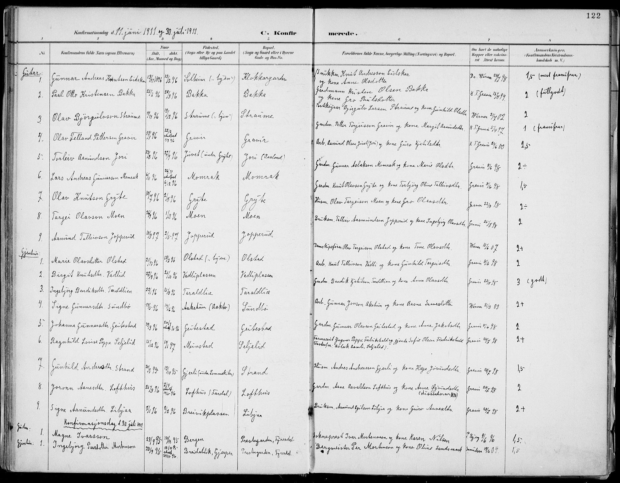 SAKO, Fyresdal kirkebøker, F/Fa/L0007: Ministerialbok nr. I 7, 1887-1914, s. 122