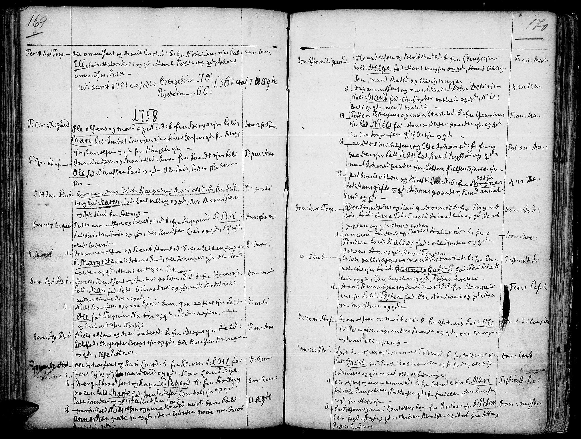 SAH, Land prestekontor, Ministerialbok nr. 2, 1733-1764, s. 169-170