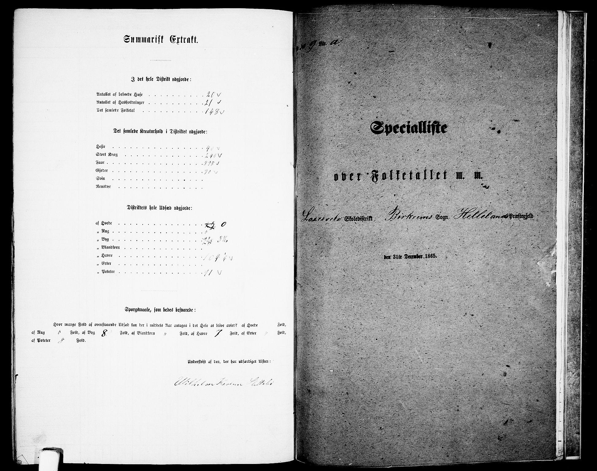 RA, Folketelling 1865 for 1115P Helleland prestegjeld, 1865, s. 129