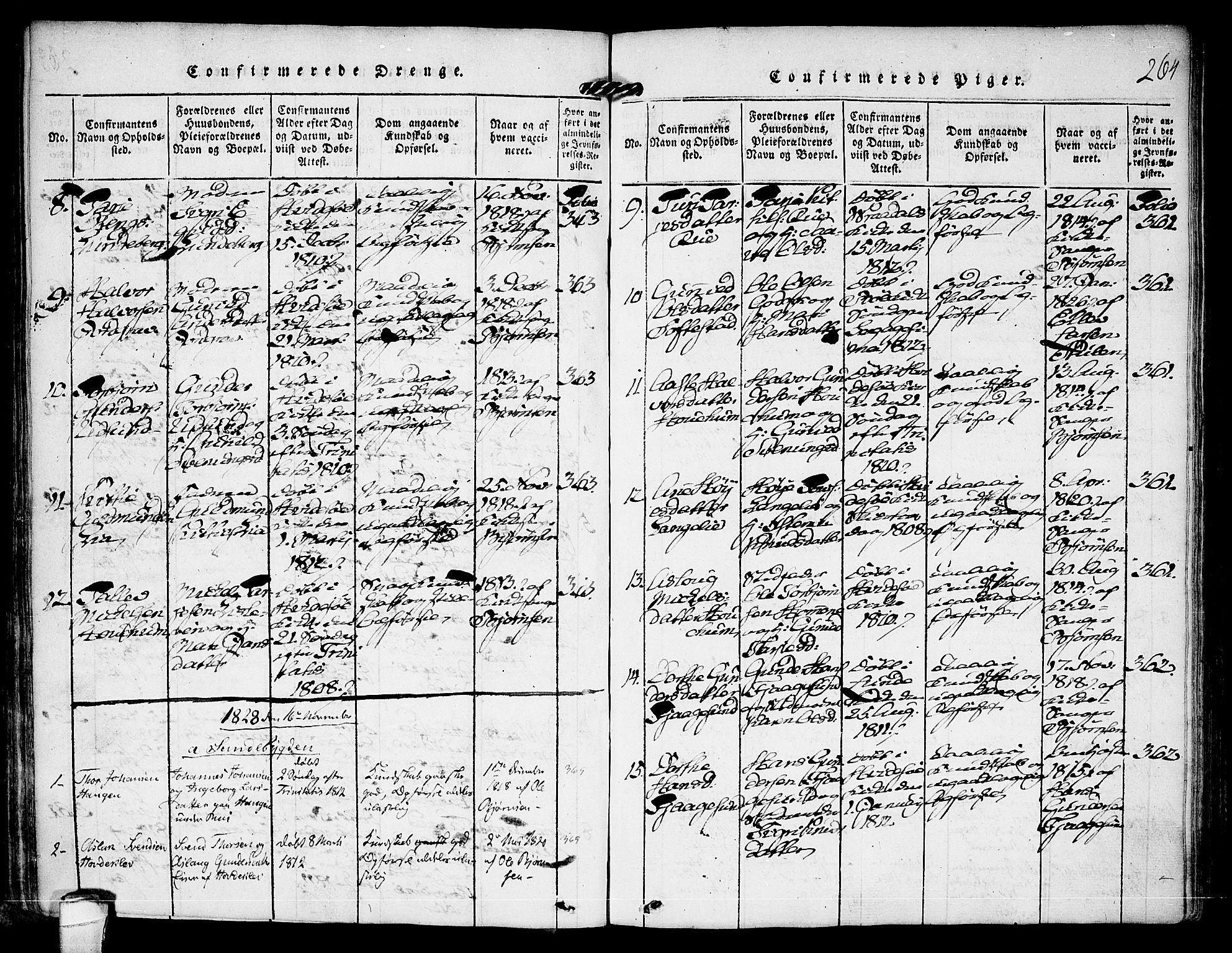 SAKO, Kviteseid kirkebøker, F/Fa/L0005: Ministerialbok nr. I 5, 1815-1836, s. 264
