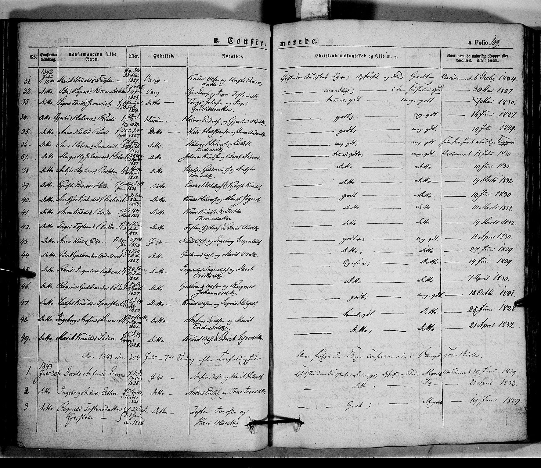 SAH, Vang prestekontor, Valdres, Ministerialbok nr. 5, 1831-1845, s. 109