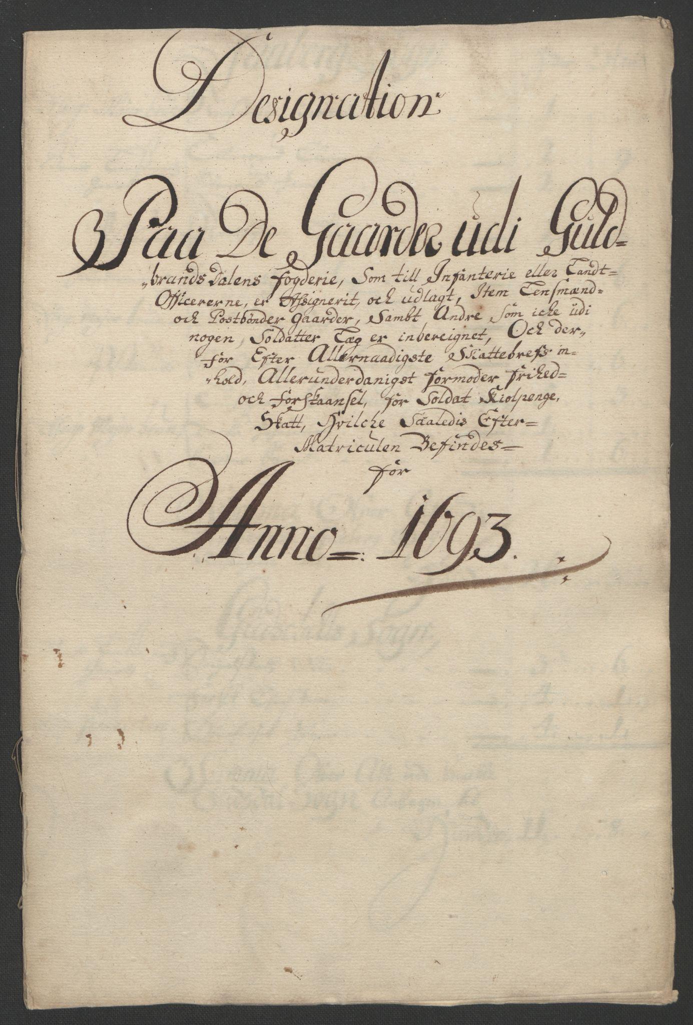 RA, Rentekammeret inntil 1814, Reviderte regnskaper, Fogderegnskap, R17/L1167: Fogderegnskap Gudbrandsdal, 1693, s. 314