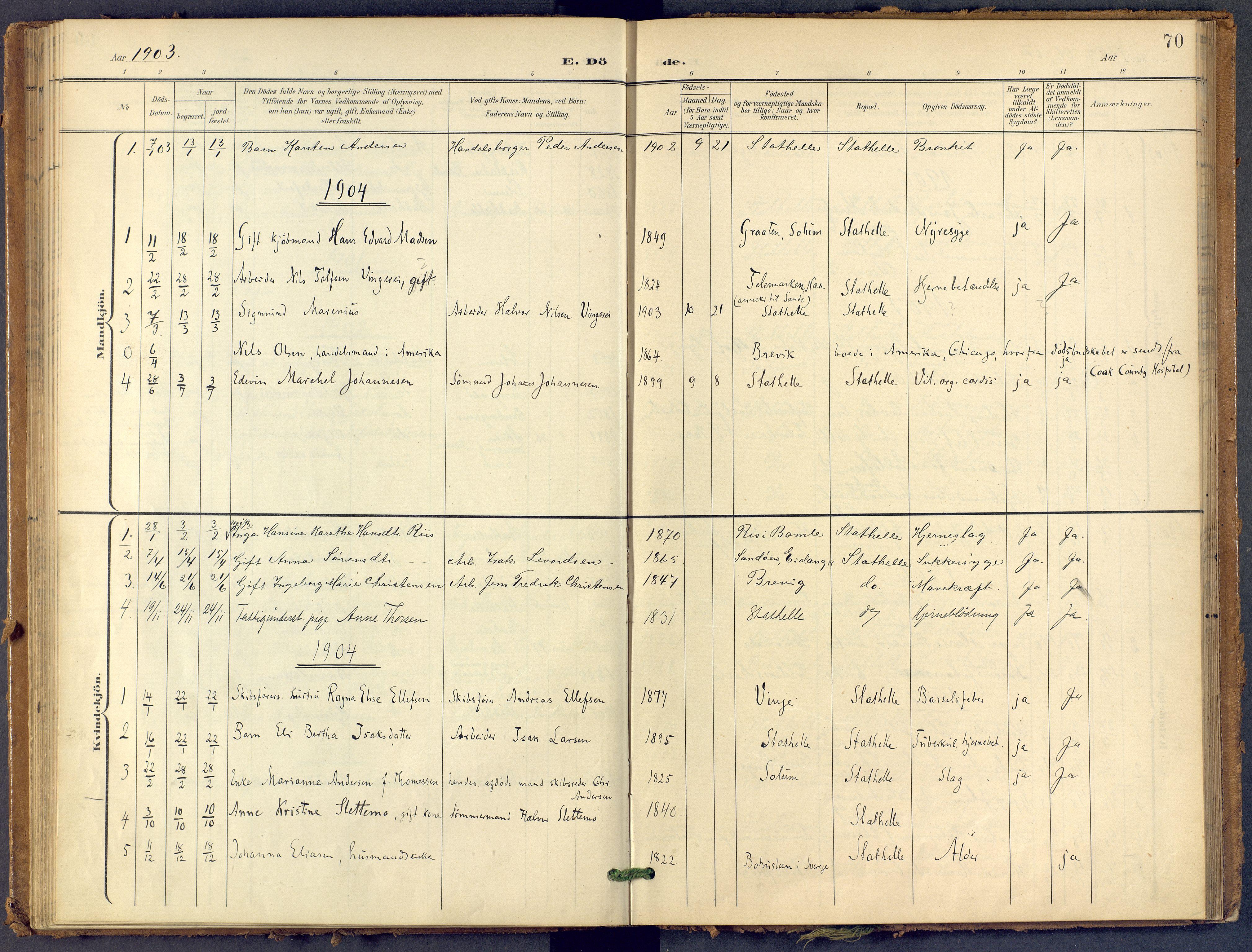 SAKO, Bamble kirkebøker, F/Fb/L0002: Ministerialbok nr. II 2, 1900-1921, s. 70