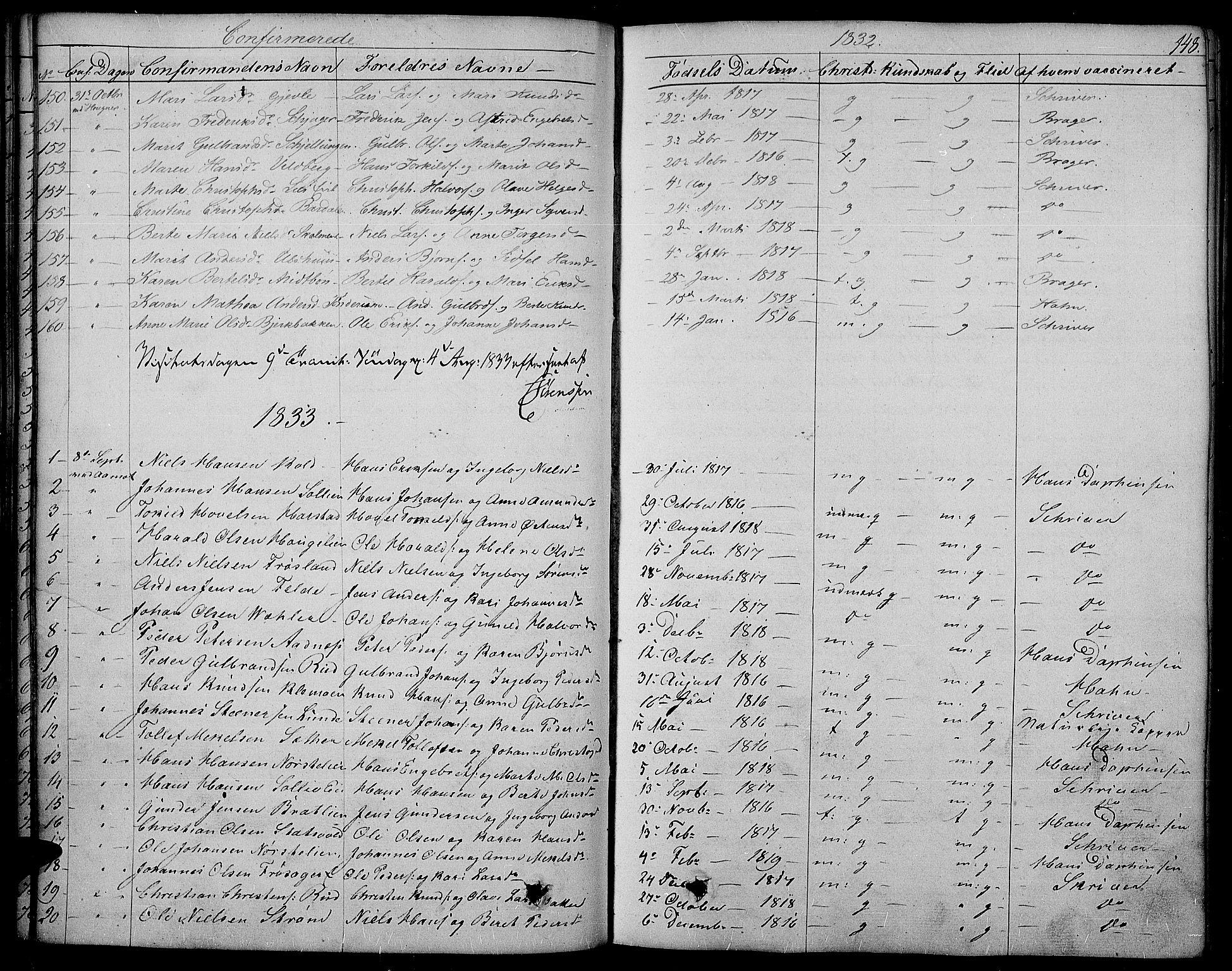 SAH, Land prestekontor, Ministerialbok nr. 8, 1830-1846, s. 148