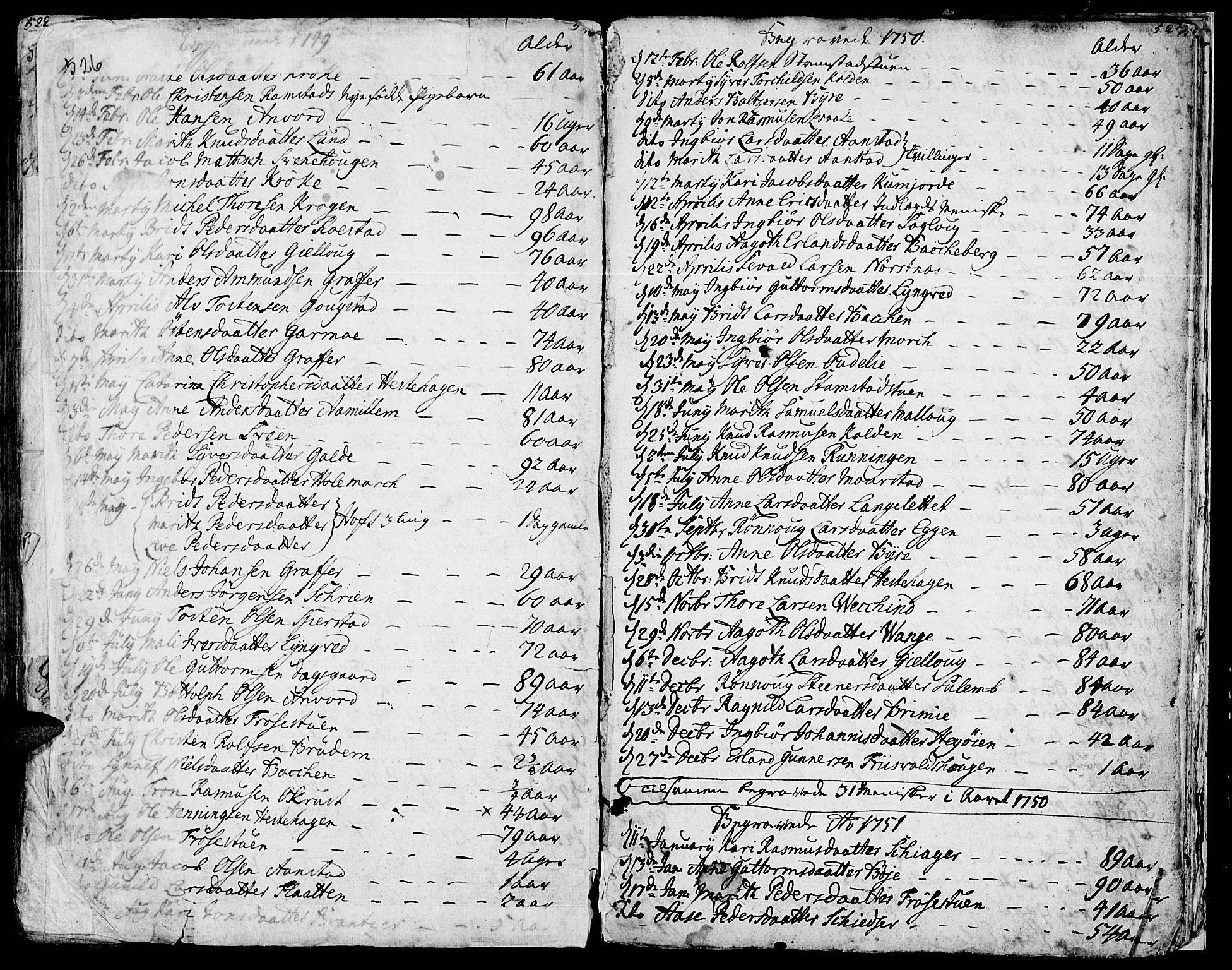SAH, Lom prestekontor, K/L0002: Ministerialbok nr. 2, 1749-1801, s. 526-527