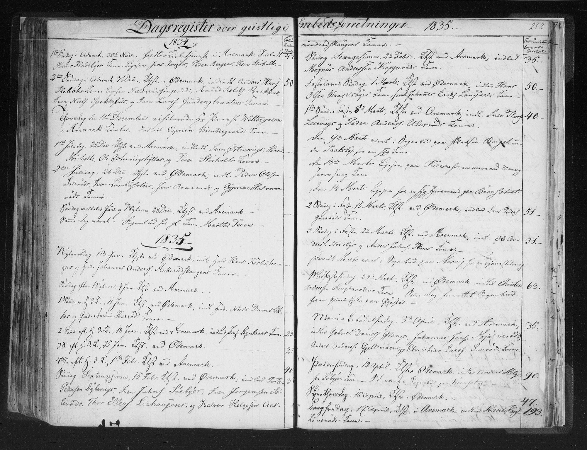 SAO, Aremark prestekontor Kirkebøker, F/Fc/L0002: Ministerialbok nr. III 2, 1834-1849, s. 252