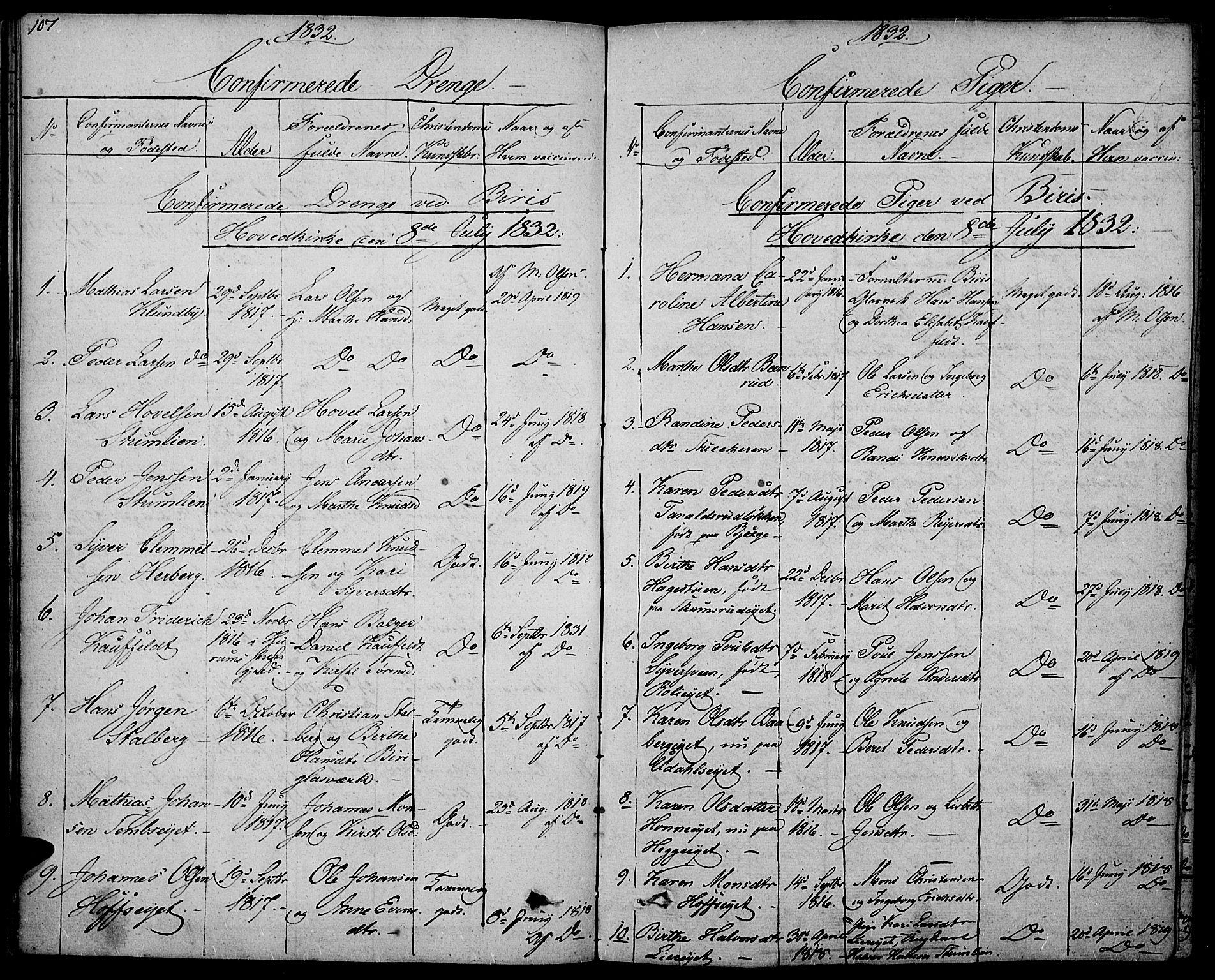 SAH, Biri prestekontor, Ministerialbok nr. 4, 1829-1842, s. 107