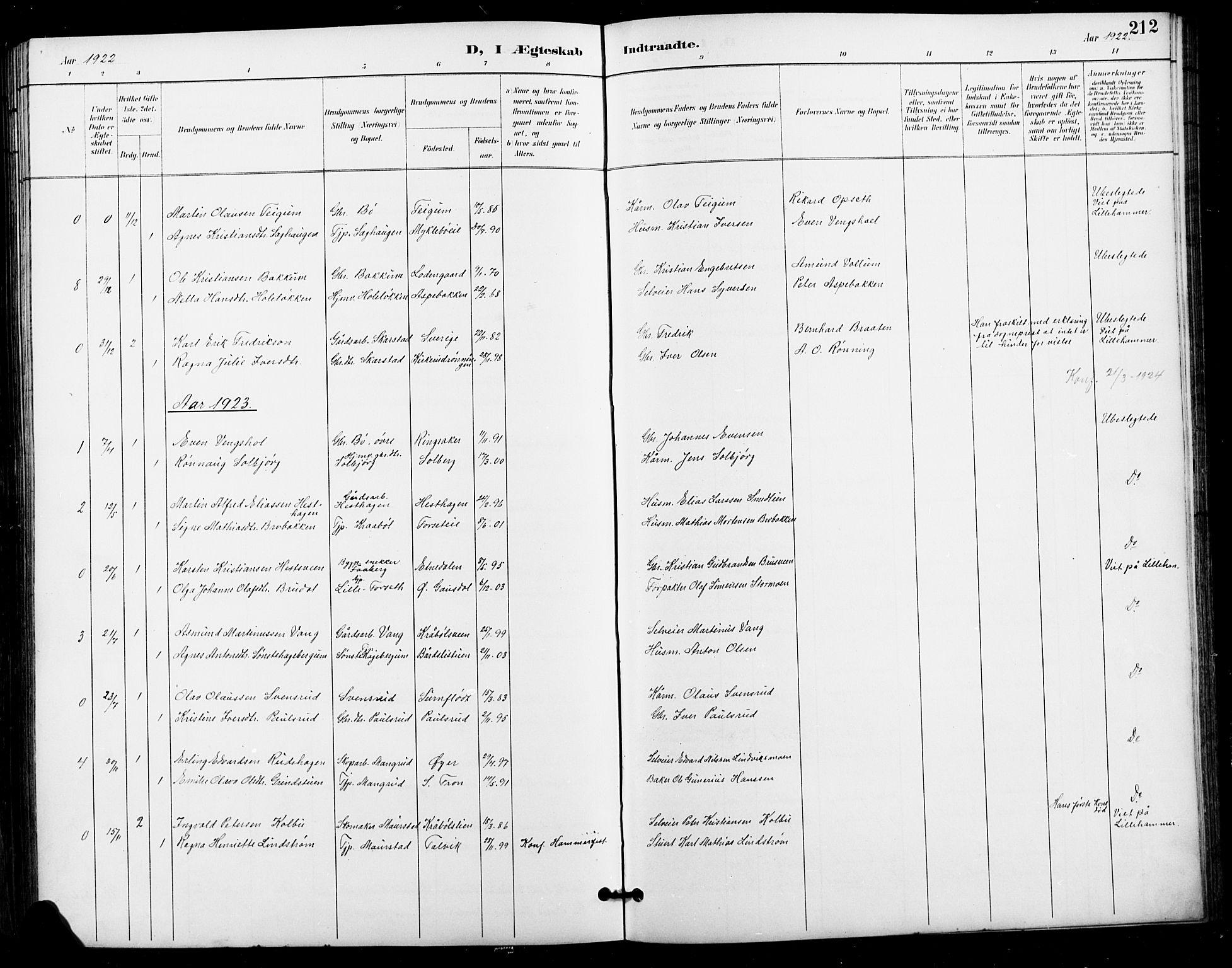 SAH, Vestre Gausdal prestekontor, Klokkerbok nr. 3, 1896-1925, s. 212