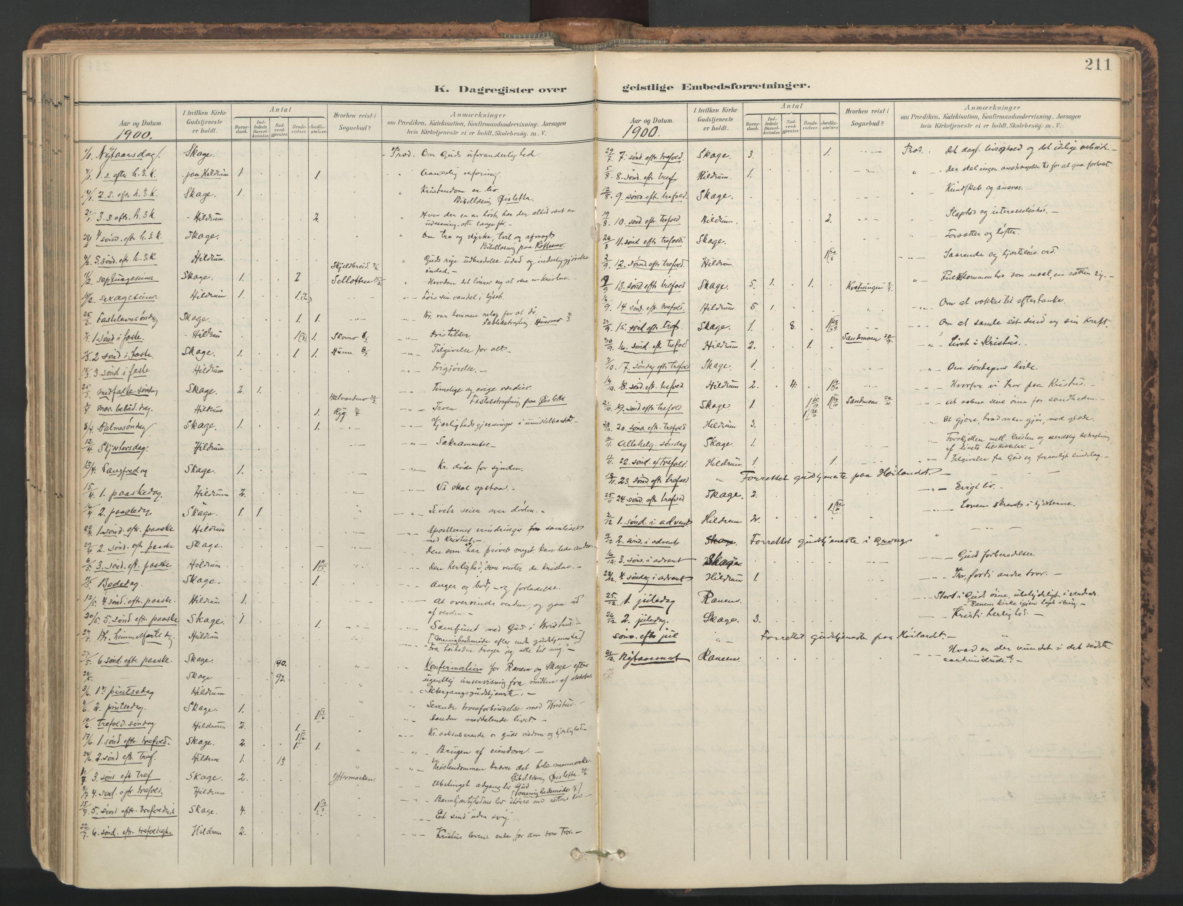 SAT, Ministerialprotokoller, klokkerbøker og fødselsregistre - Nord-Trøndelag, 764/L0556: Ministerialbok nr. 764A11, 1897-1924, s. 211