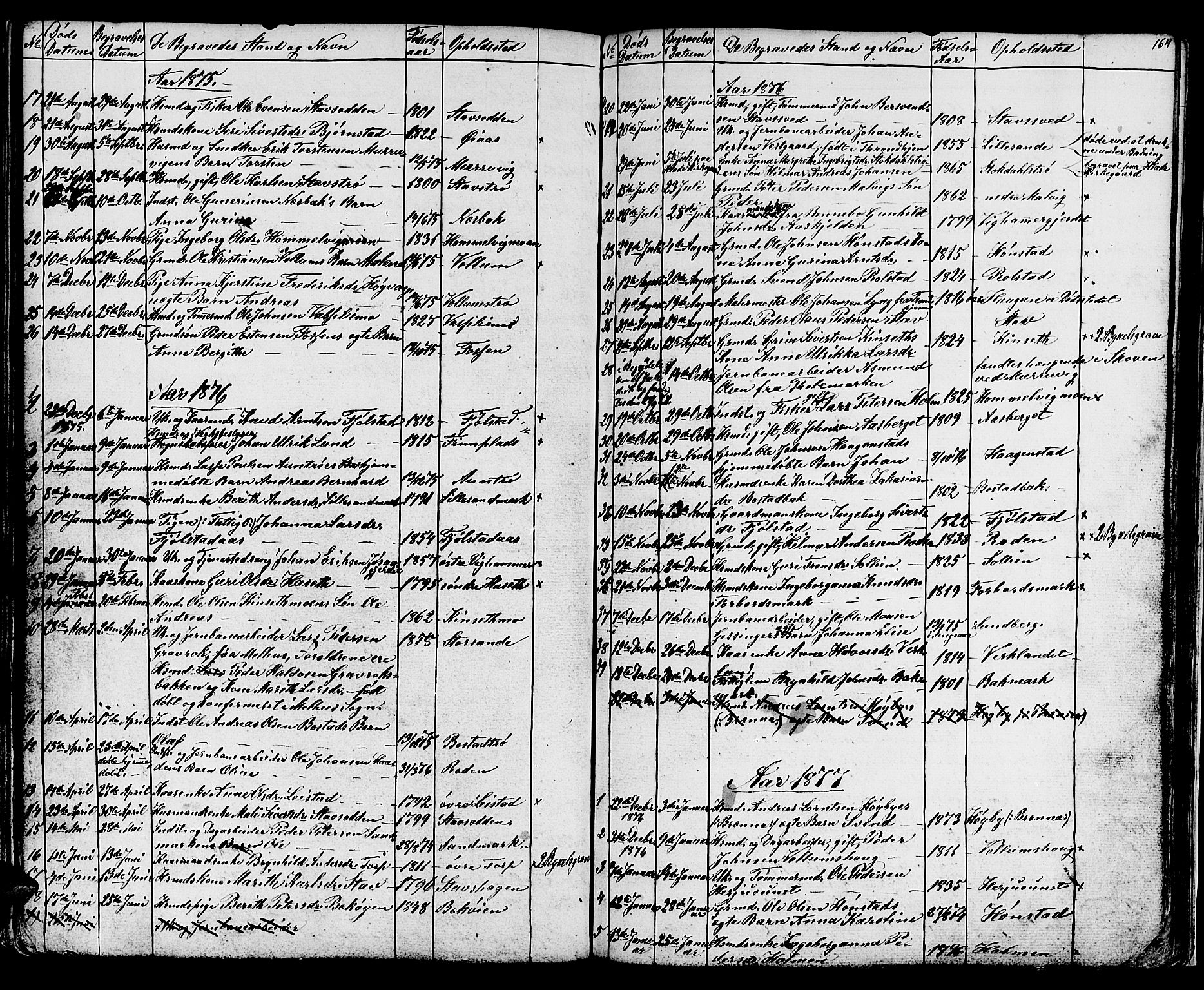 SAT, Ministerialprotokoller, klokkerbøker og fødselsregistre - Sør-Trøndelag, 616/L0422: Klokkerbok nr. 616C05, 1850-1888, s. 164