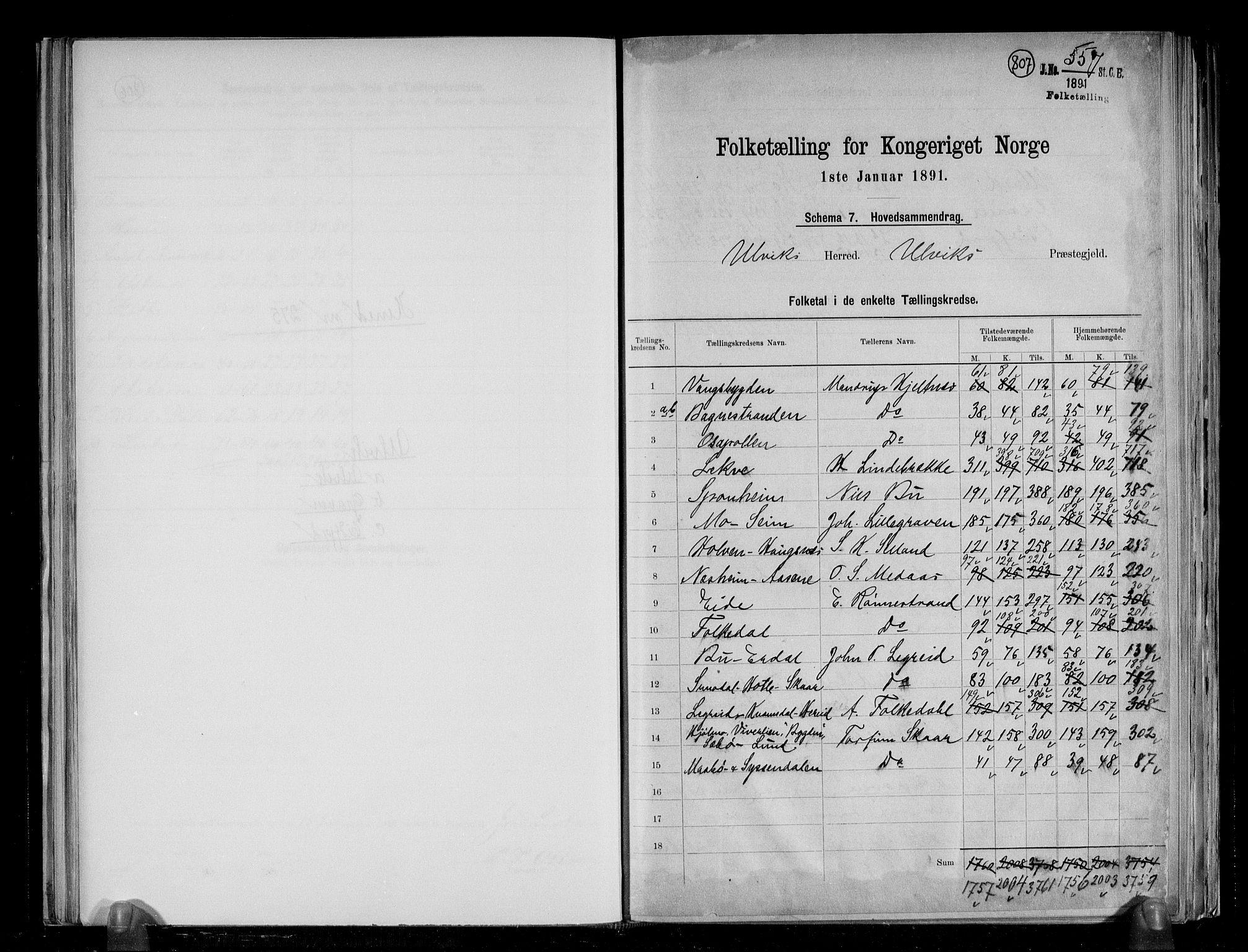 RA, Folketelling 1891 for 1233 Ulvik herred, 1891, s. 2