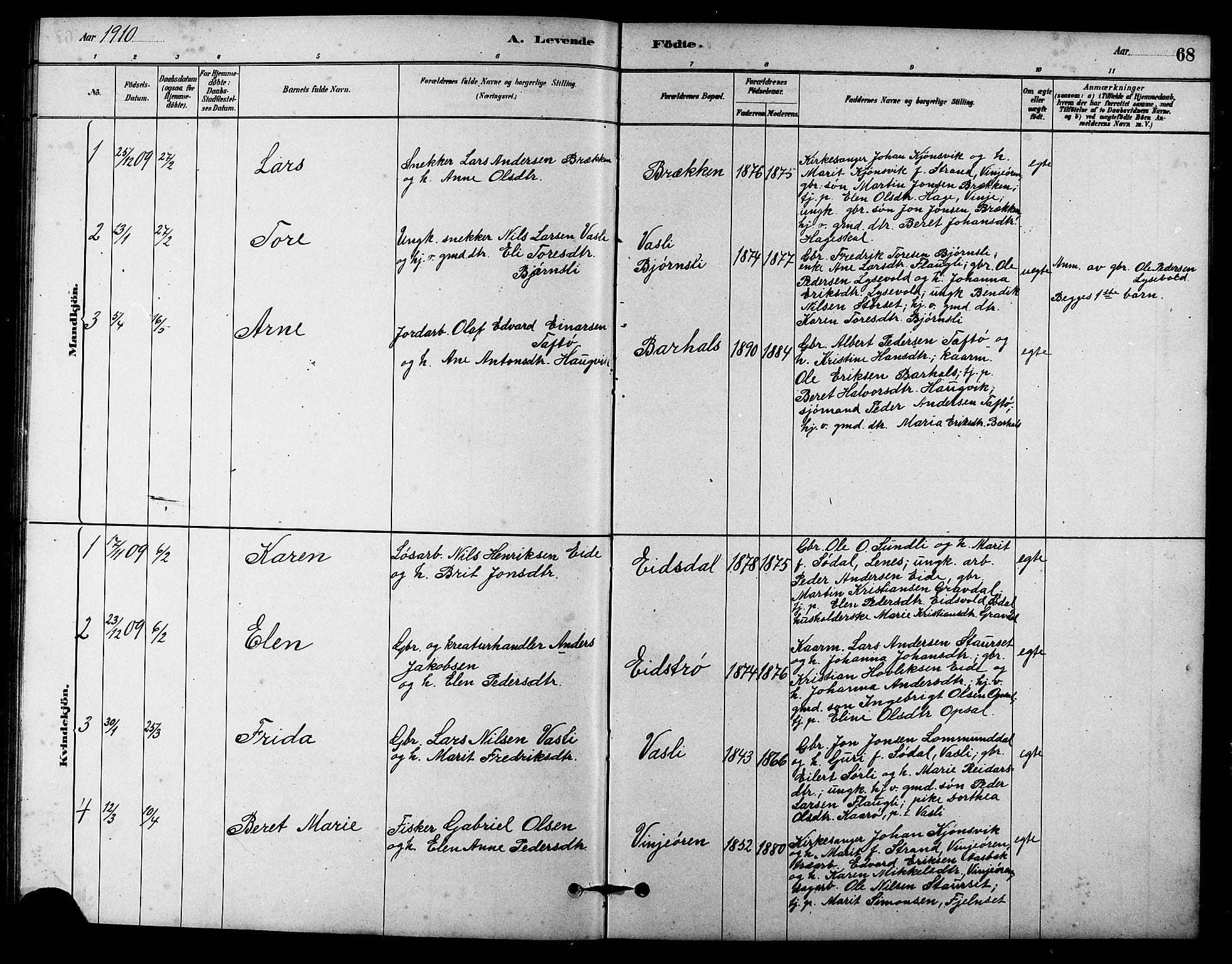 SAT, Ministerialprotokoller, klokkerbøker og fødselsregistre - Sør-Trøndelag, 631/L0514: Klokkerbok nr. 631C02, 1879-1912, s. 68