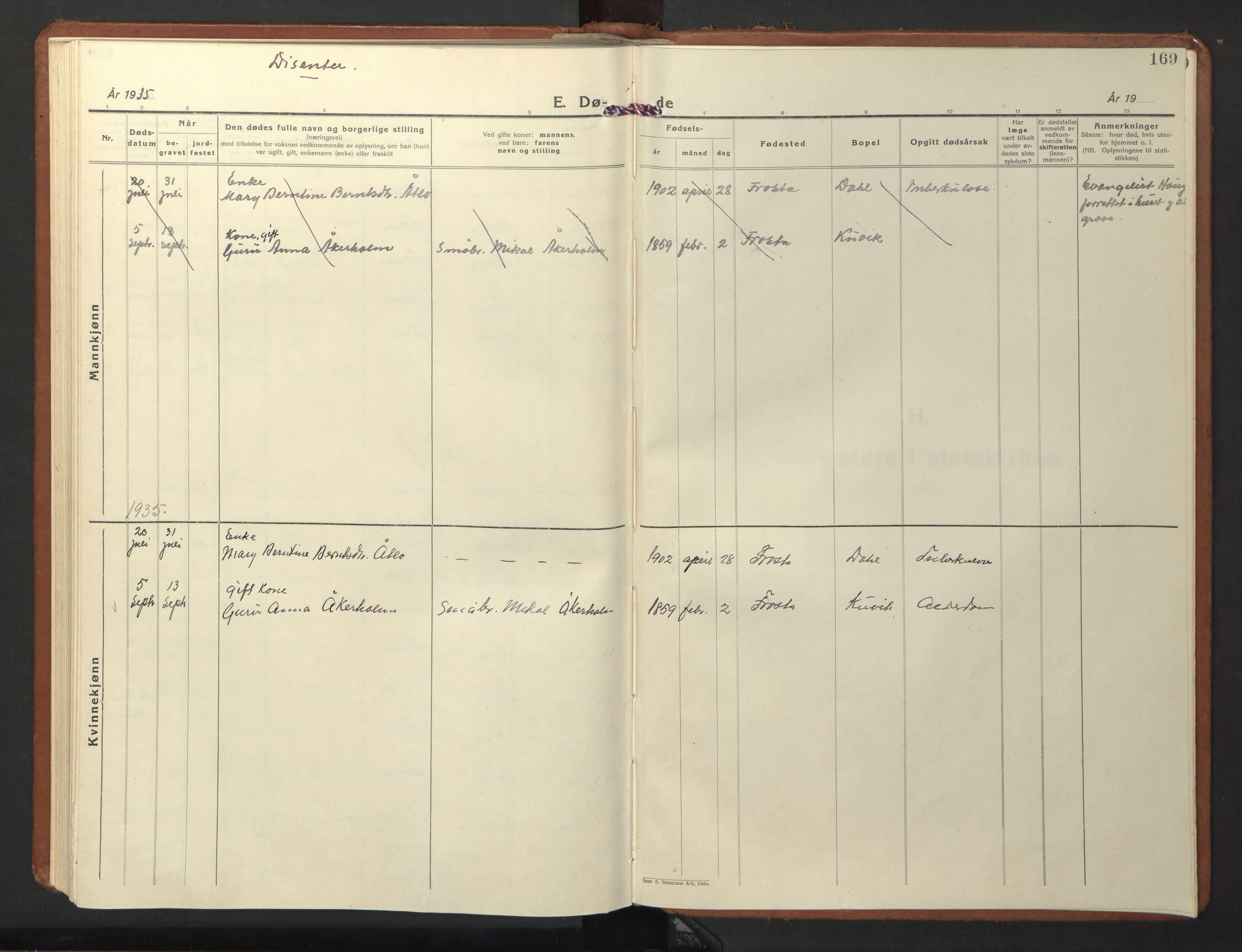SAT, Ministerialprotokoller, klokkerbøker og fødselsregistre - Nord-Trøndelag, 713/L0125: Klokkerbok nr. 713C02, 1931-1941, s. 169
