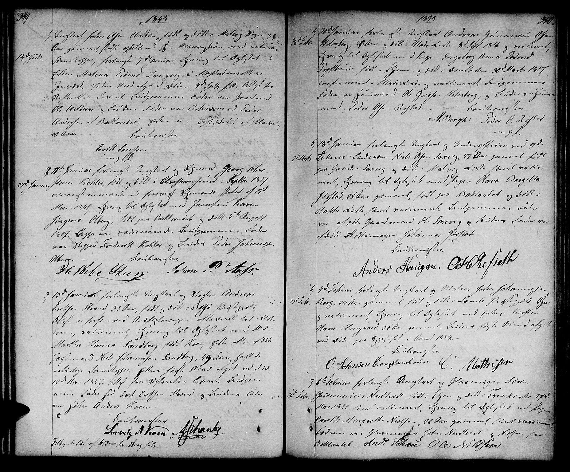 SAT, Ministerialprotokoller, klokkerbøker og fødselsregistre - Sør-Trøndelag, 604/L0181: Ministerialbok nr. 604A02, 1798-1817, s. 349-350