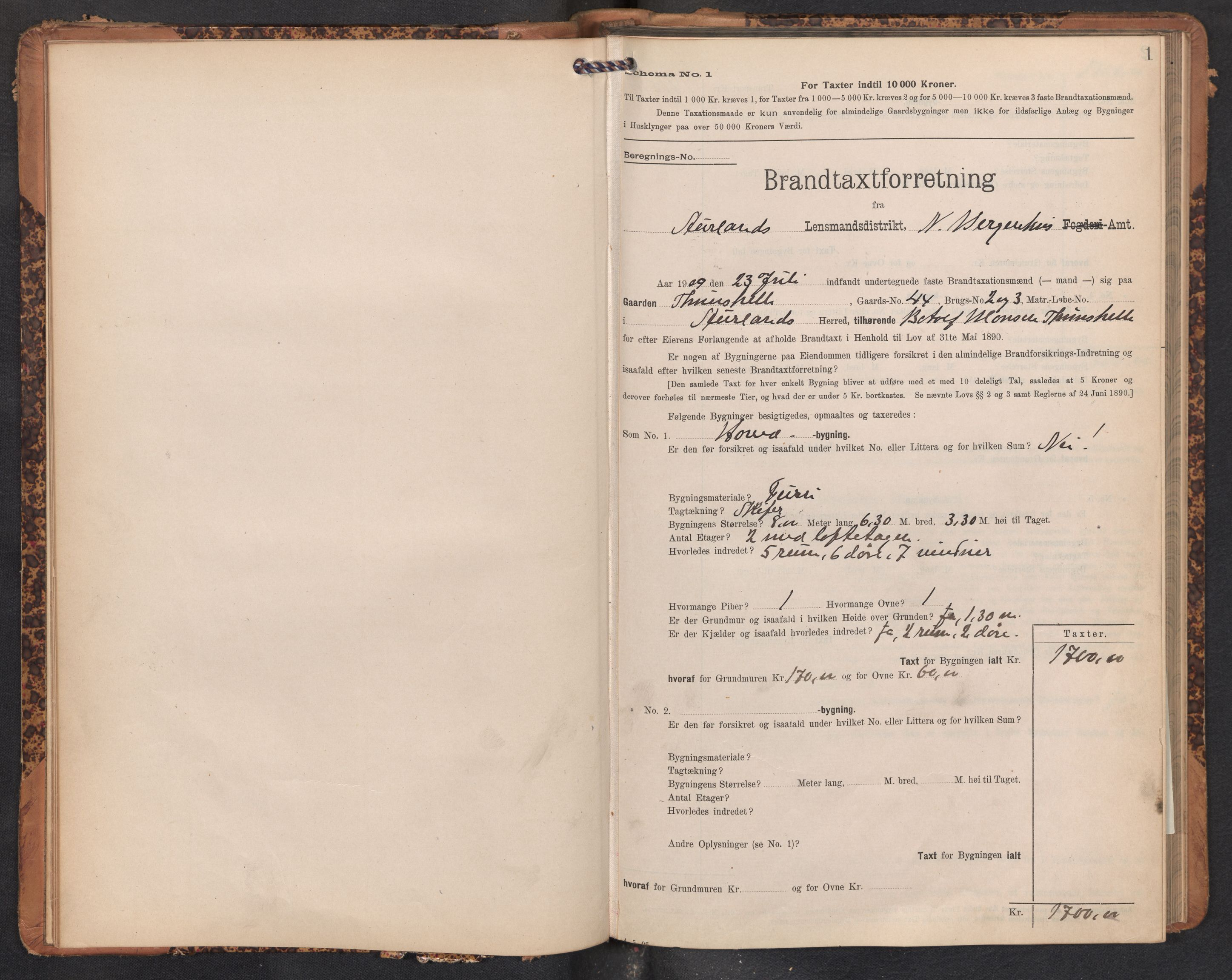 SAB, Lensmannen i Aurland, 0012/L0005: Branntakstprotokoll, skjematakst, 1909-1916, s. 1