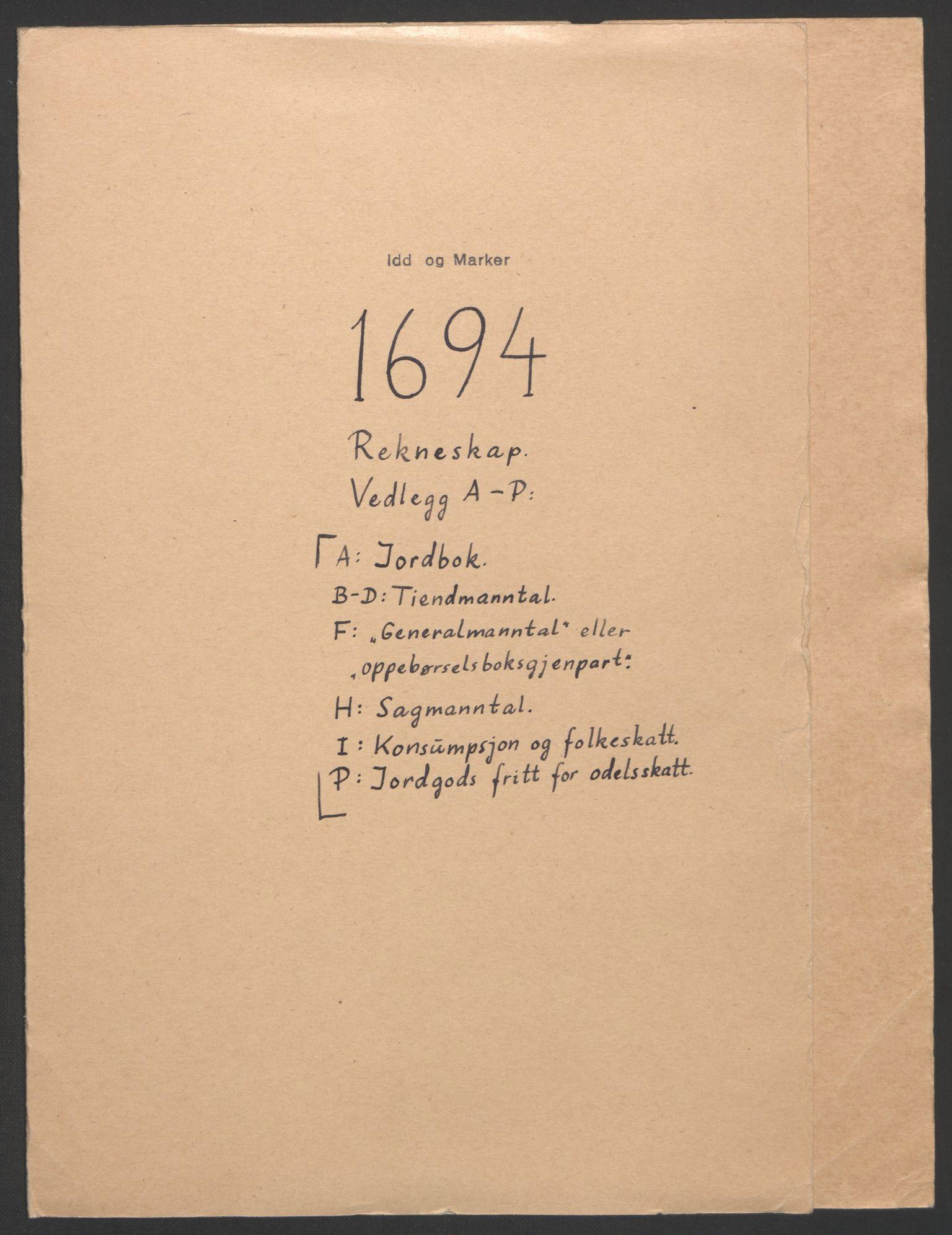 RA, Rentekammeret inntil 1814, Reviderte regnskaper, Fogderegnskap, R01/L0012: Fogderegnskap Idd og Marker, 1694-1695, s. 2