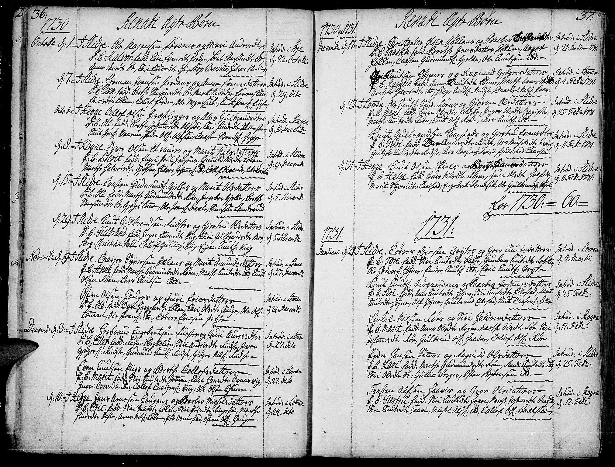 SAH, Slidre prestekontor, Ministerialbok nr. 1, 1724-1814, s. 36-37