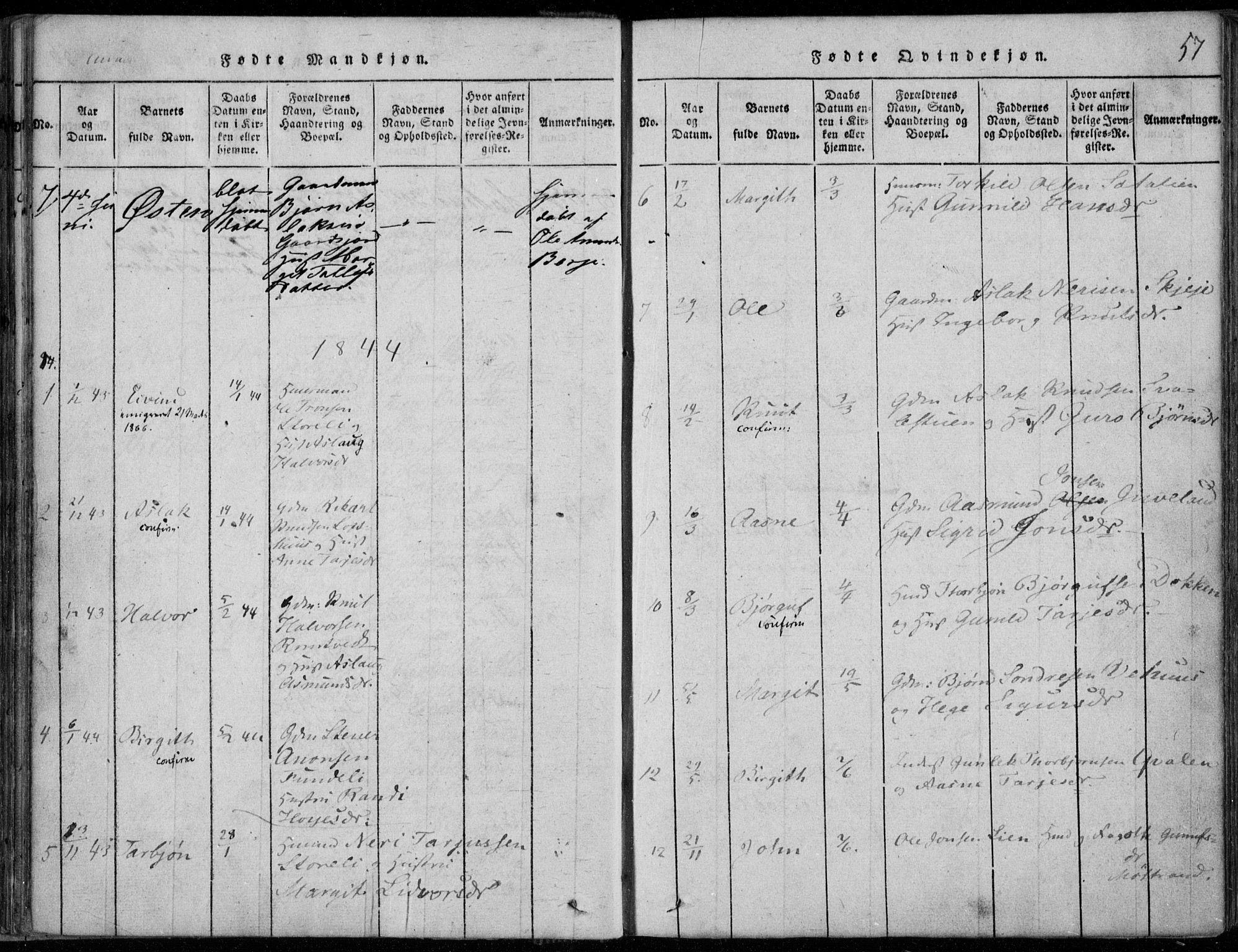 SAKO, Rauland kirkebøker, F/Fa/L0001: Ministerialbok nr. 1, 1814-1859, s. 57