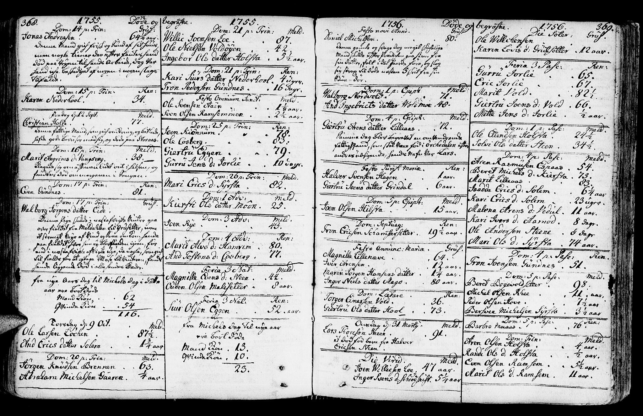 SAT, Ministerialprotokoller, klokkerbøker og fødselsregistre - Sør-Trøndelag, 672/L0851: Ministerialbok nr. 672A04, 1751-1775, s. 368-369
