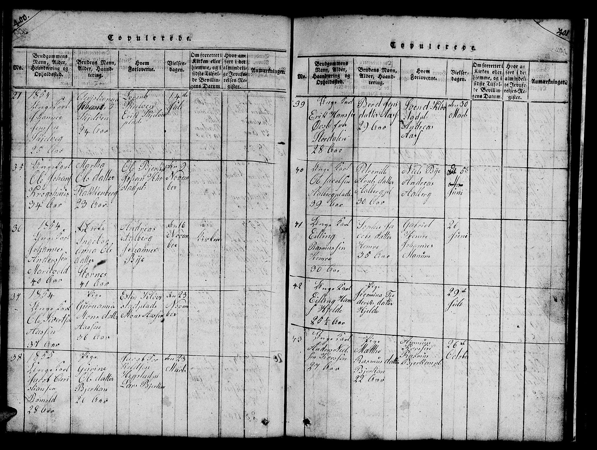 SAT, Ministerialprotokoller, klokkerbøker og fødselsregistre - Nord-Trøndelag, 732/L0317: Klokkerbok nr. 732C01, 1816-1881, s. 400-401