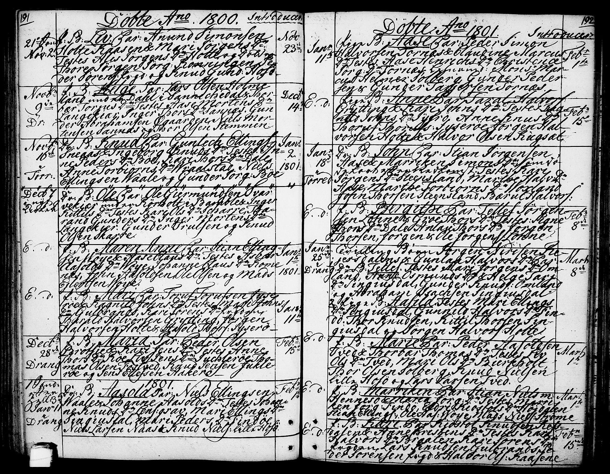 SAKO, Drangedal kirkebøker, F/Fa/L0003: Ministerialbok nr. 3, 1768-1814, s. 191-192