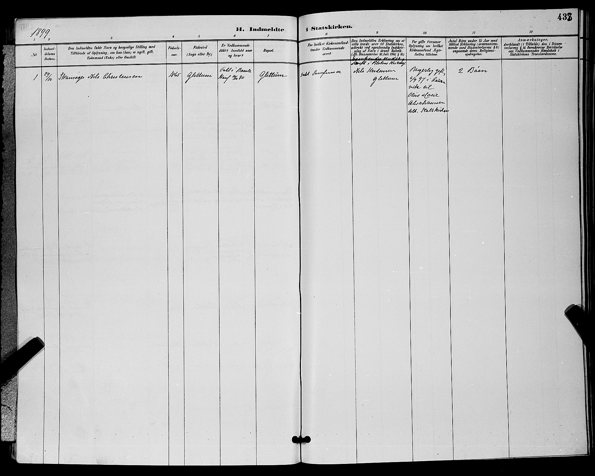 SAKO, Bamble kirkebøker, G/Ga/L0009: Klokkerbok nr. I 9, 1888-1900, s. 438