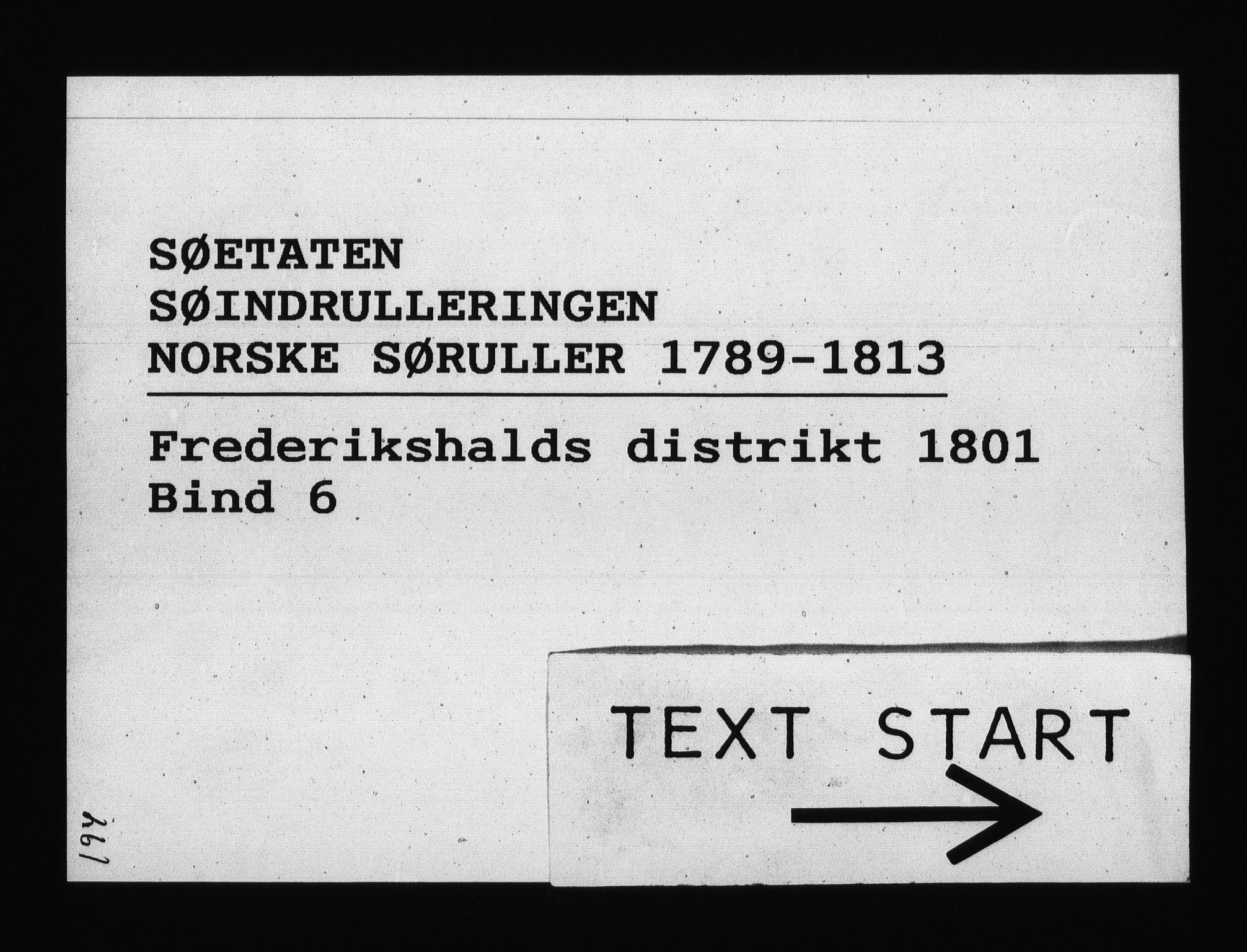 RA, Sjøetaten, F/L0195: Fredrikshalds distrikt, bind 6, 1801