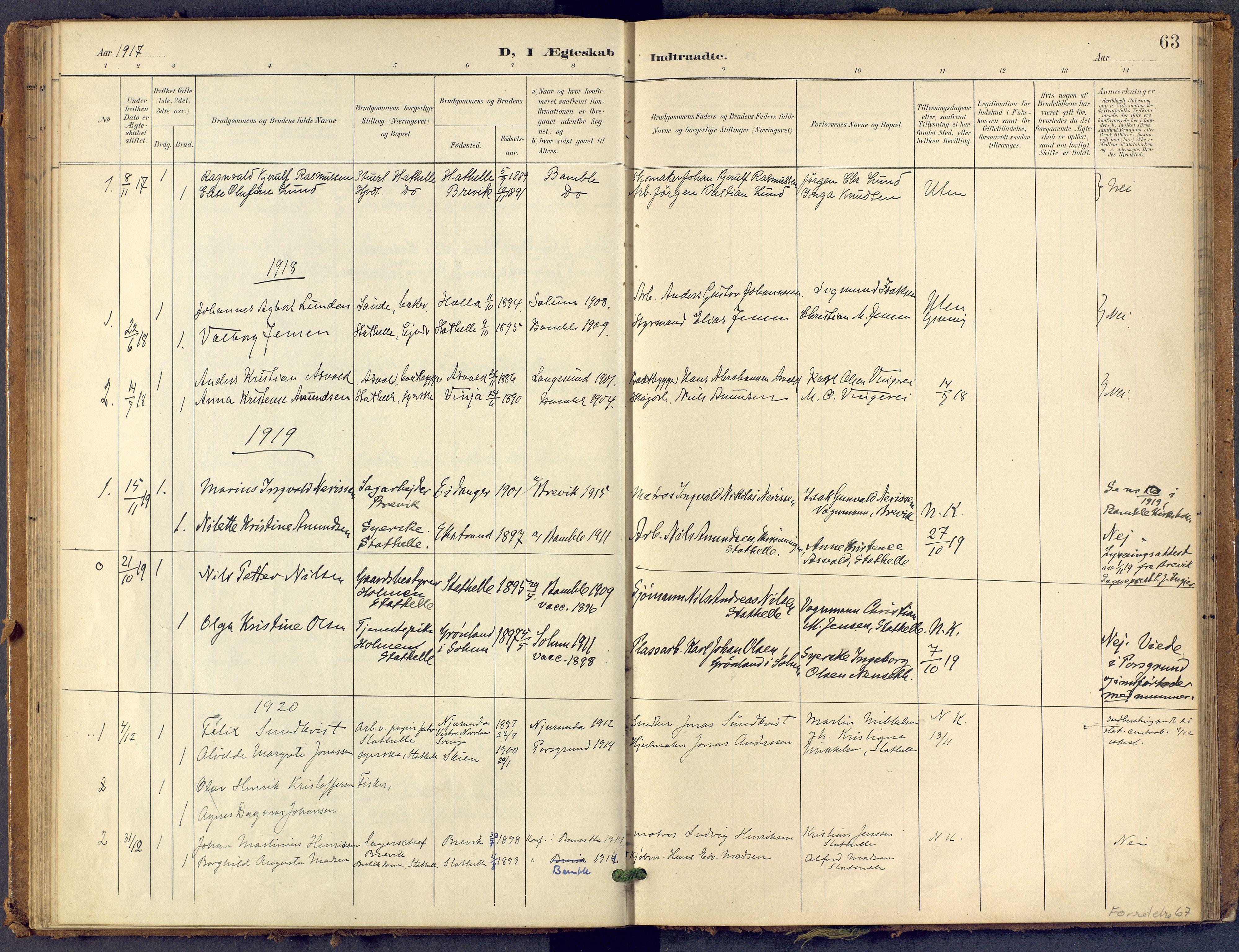 SAKO, Bamble kirkebøker, F/Fb/L0002: Ministerialbok nr. II 2, 1900-1921, s. 63