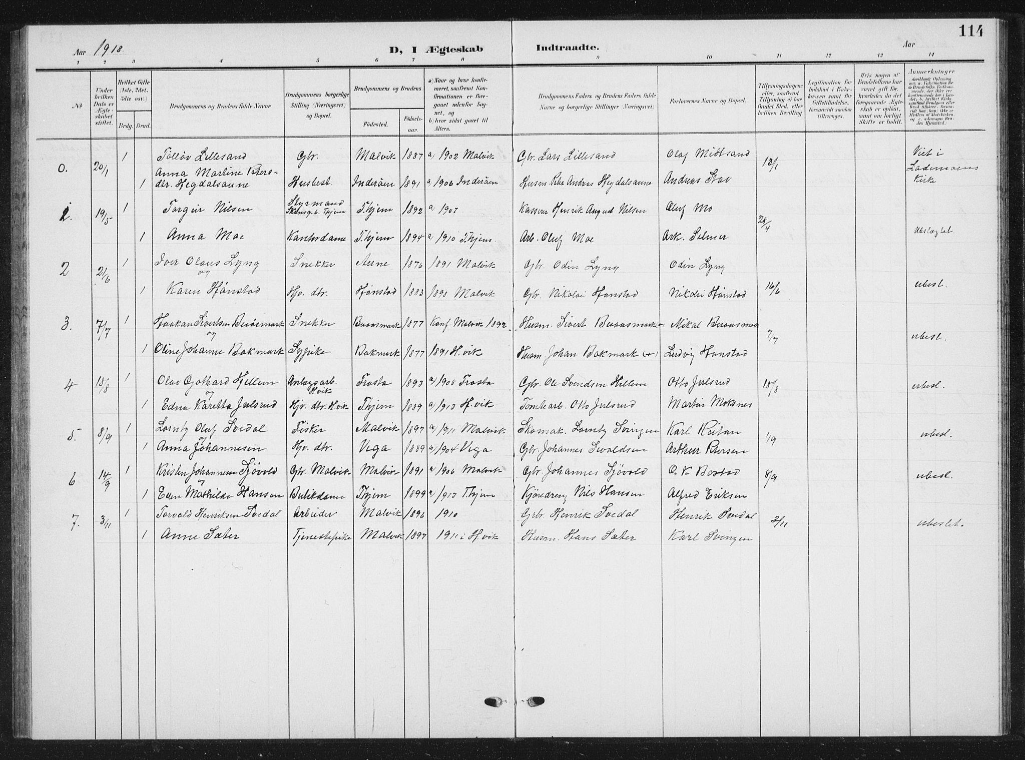 SAT, Ministerialprotokoller, klokkerbøker og fødselsregistre - Sør-Trøndelag, 616/L0424: Klokkerbok nr. 616C07, 1904-1940, s. 114