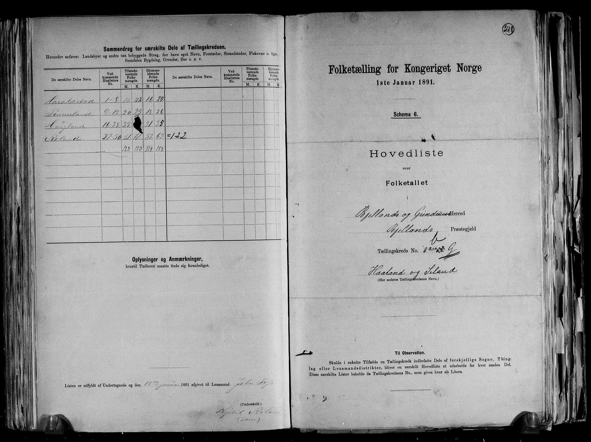 RA, Folketelling 1891 for 1024 Bjelland og Grindheim herred, 1891, s. 16
