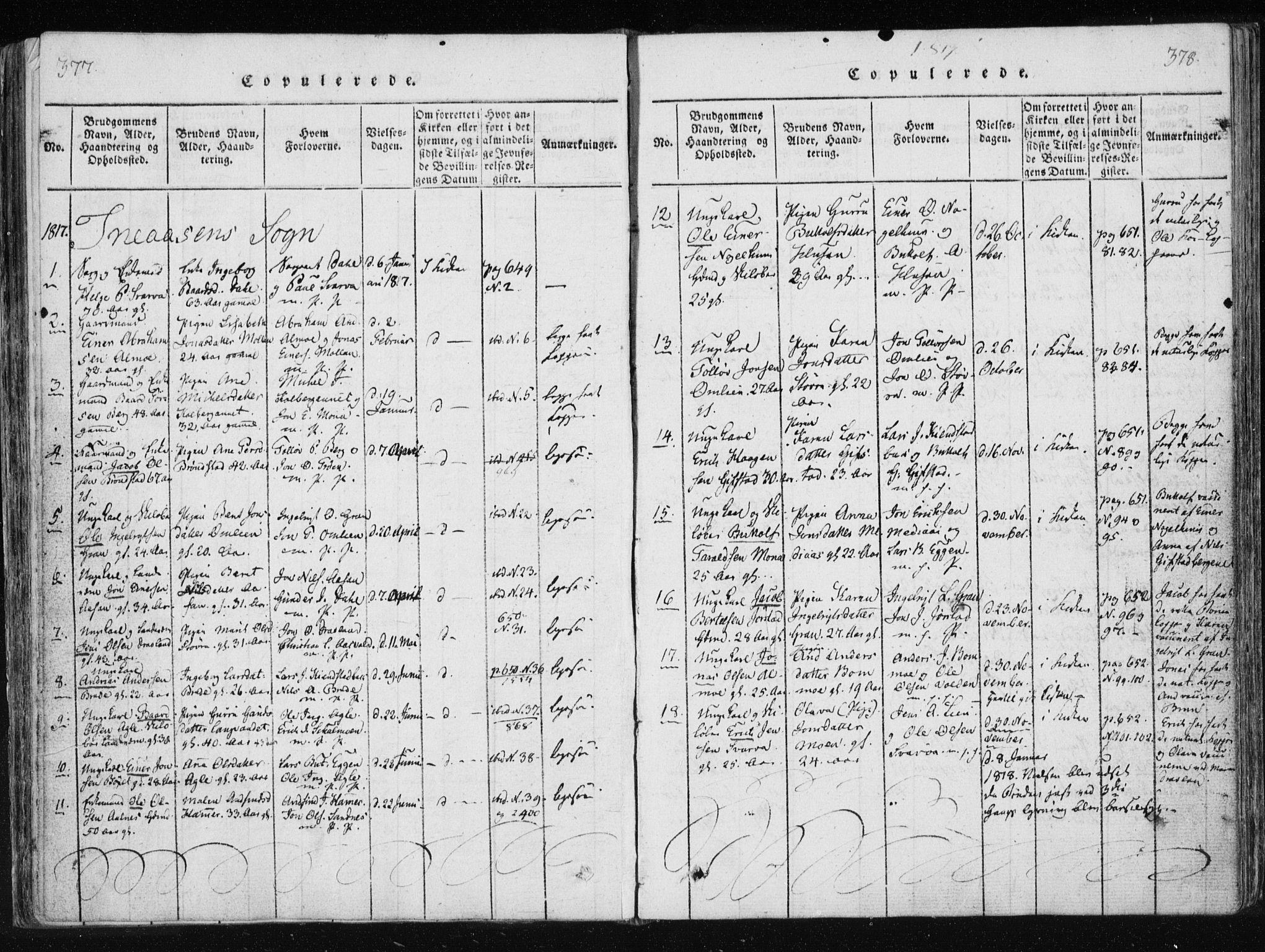 SAT, Ministerialprotokoller, klokkerbøker og fødselsregistre - Nord-Trøndelag, 749/L0469: Ministerialbok nr. 749A03, 1817-1857, s. 377-378