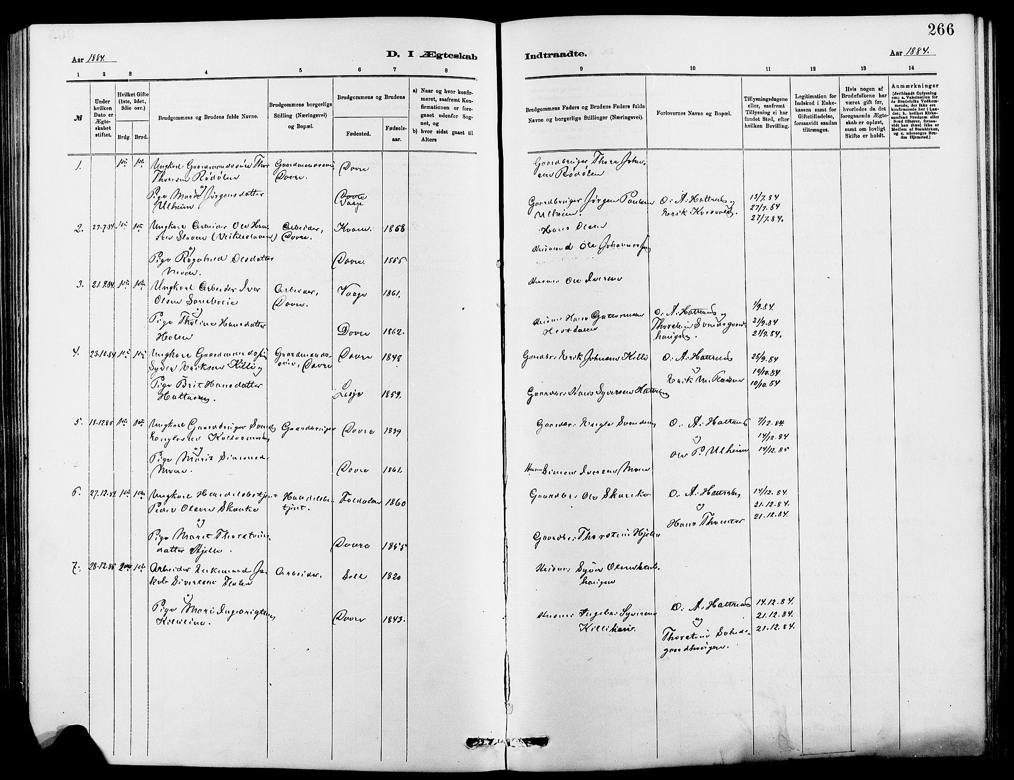 SAH, Dovre prestekontor, Klokkerbok nr. 2, 1881-1907, s. 266