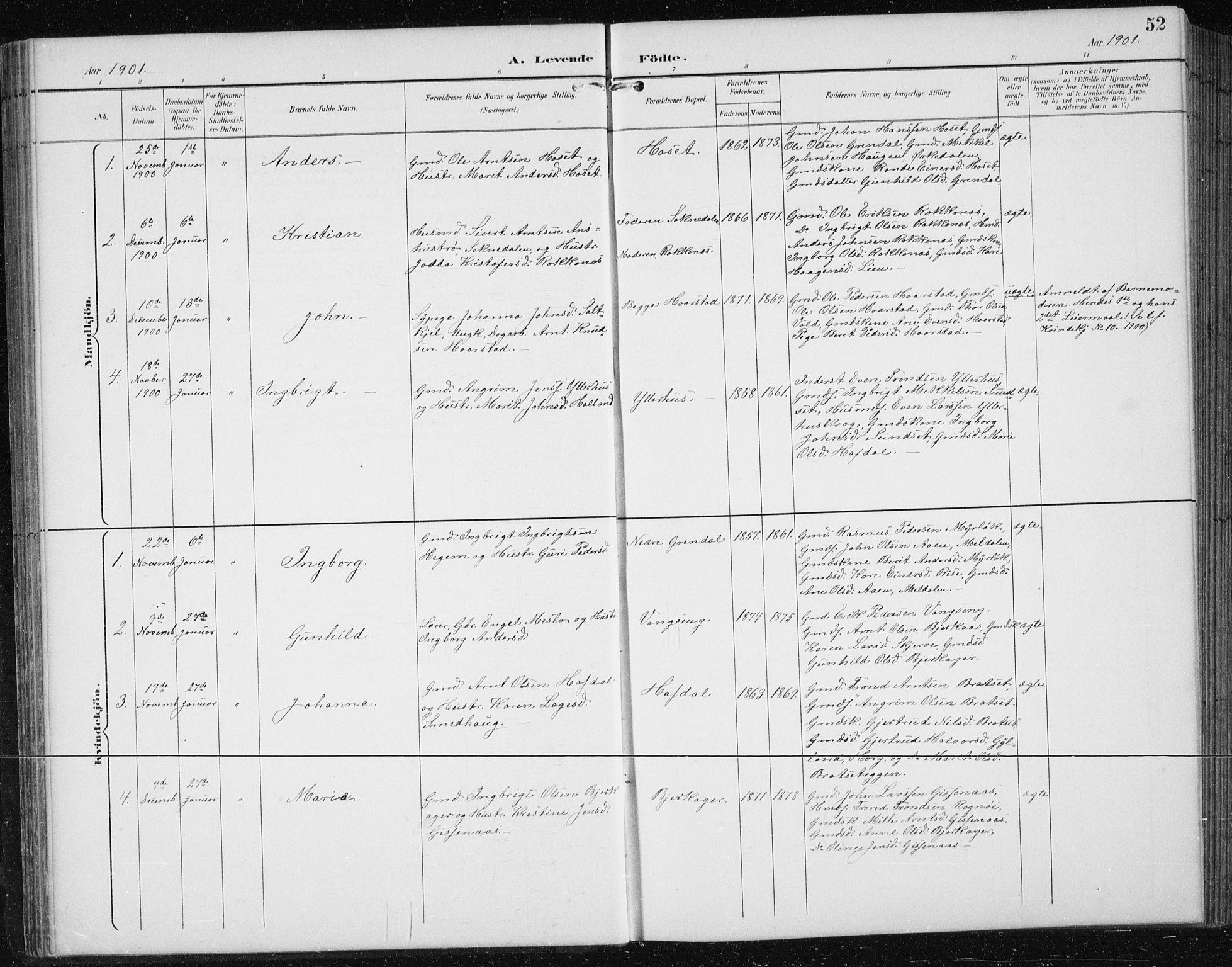 SAT, Ministerialprotokoller, klokkerbøker og fødselsregistre - Sør-Trøndelag, 674/L0876: Klokkerbok nr. 674C03, 1892-1912, s. 52