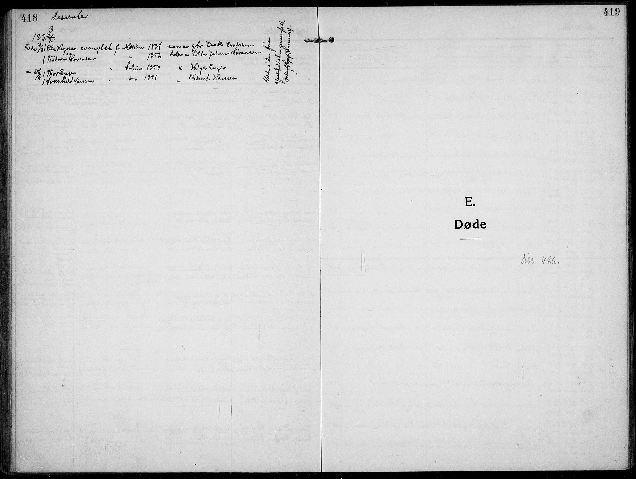 SAKO, Solum kirkebøker, F/Fb/L0004: Ministerialbok nr. II 4, 1913-1924, s. 418-419