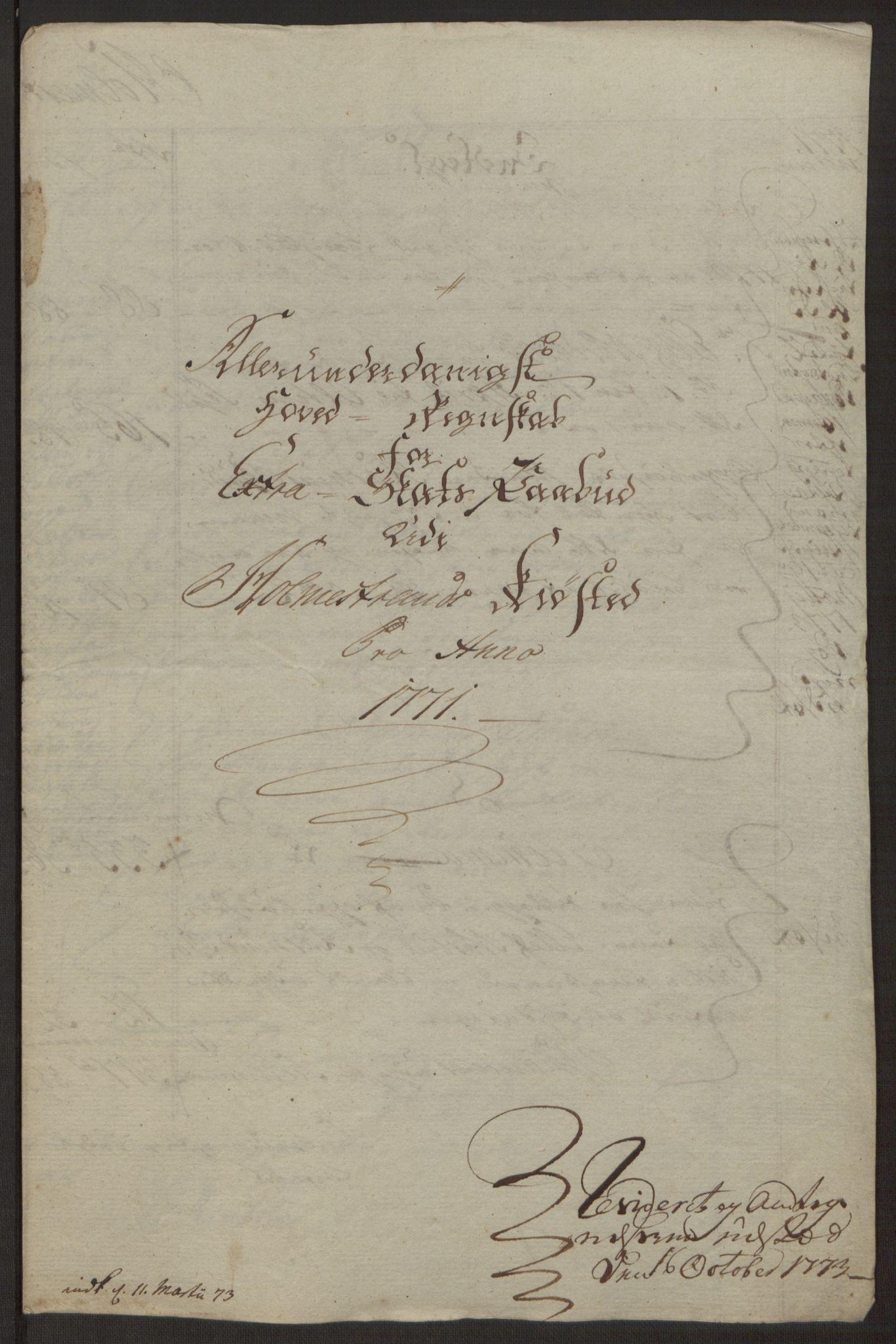RA, Rentekammeret inntil 1814, Reviderte regnskaper, Byregnskaper, R/Rh/L0163: [H4] Kontribusjonsregnskap, 1762-1772, s. 415