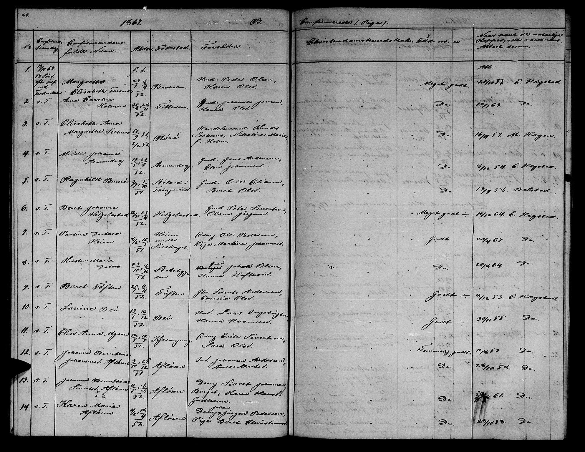 SAT, Ministerialprotokoller, klokkerbøker og fødselsregistre - Sør-Trøndelag, 634/L0539: Klokkerbok nr. 634C01, 1866-1873, s. 80