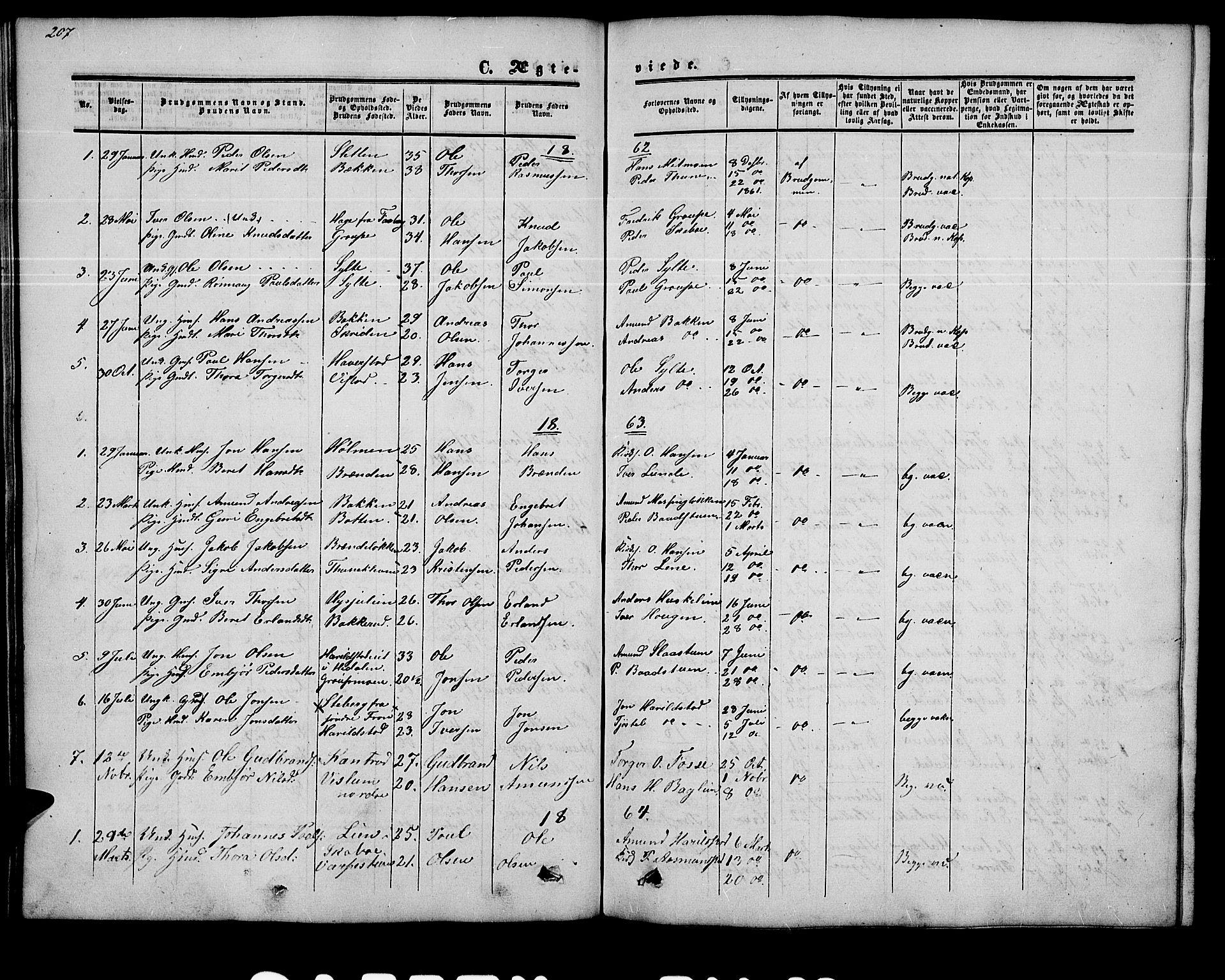 SAH, Nord-Fron prestekontor, Klokkerbok nr. 2, 1851-1883, s. 207