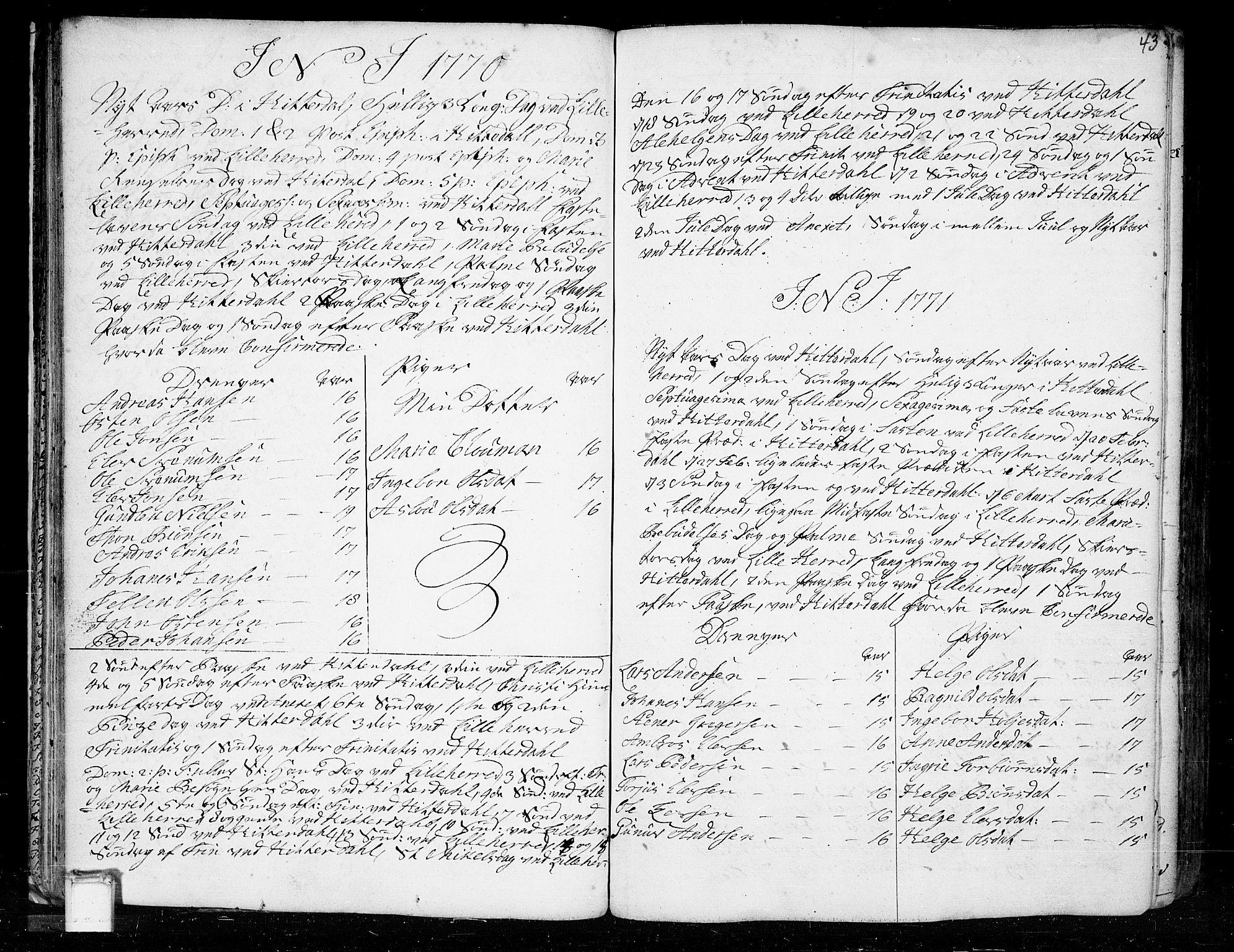 SAKO, Heddal kirkebøker, F/Fa/L0003: Ministerialbok nr. I 3, 1723-1783, s. 43