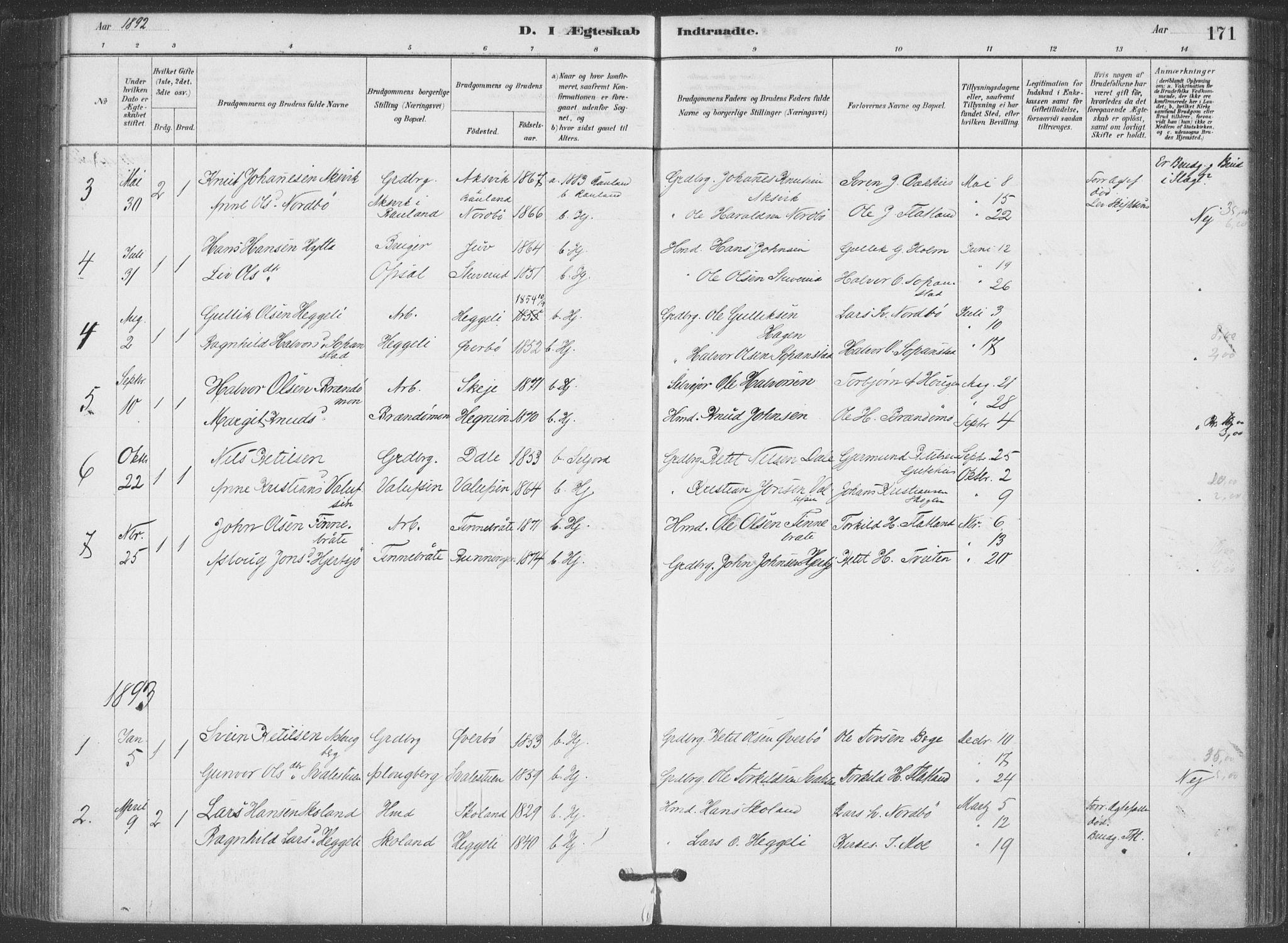SAKO, Hjartdal kirkebøker, F/Fa/L0010: Ministerialbok nr. I 10, 1880-1929, s. 171