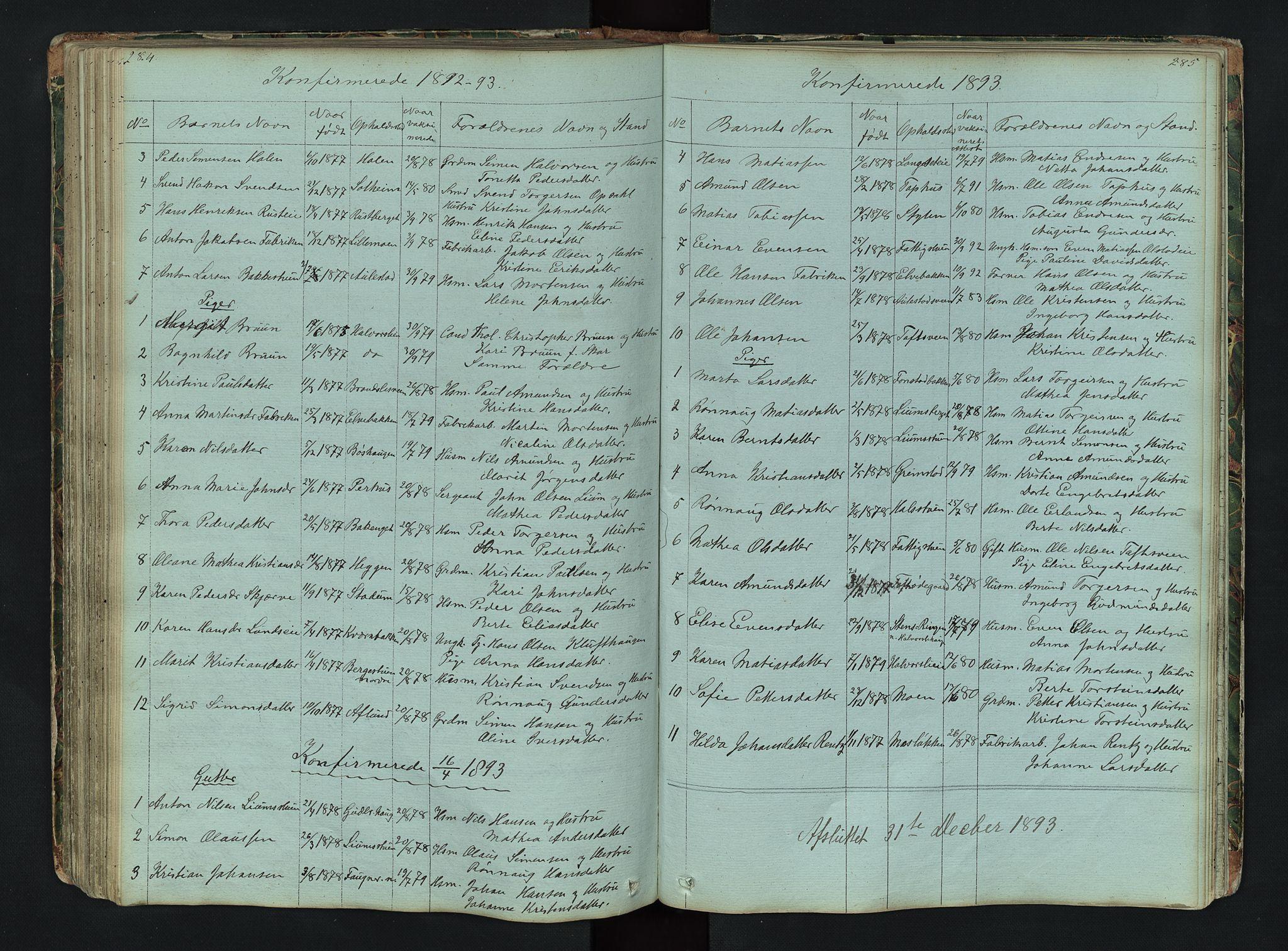 SAH, Gausdal prestekontor, Klokkerbok nr. 6, 1846-1893, s. 284-285