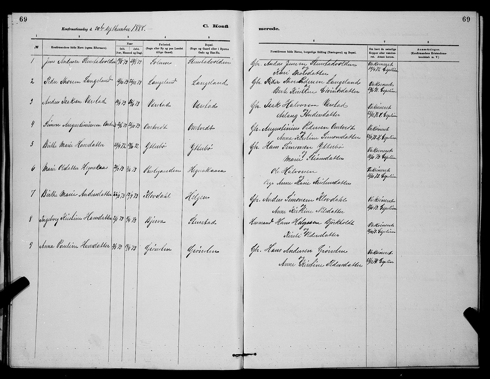 SAKO, Holla kirkebøker, G/Gb/L0001: Klokkerbok nr. II 1, 1882-1897, s. 69