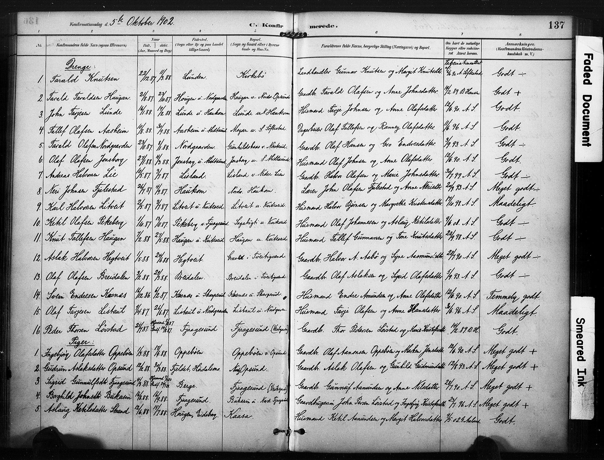 SAKO, Kviteseid kirkebøker, F/Fa/L0008: Ministerialbok nr. I 8, 1882-1903, s. 137