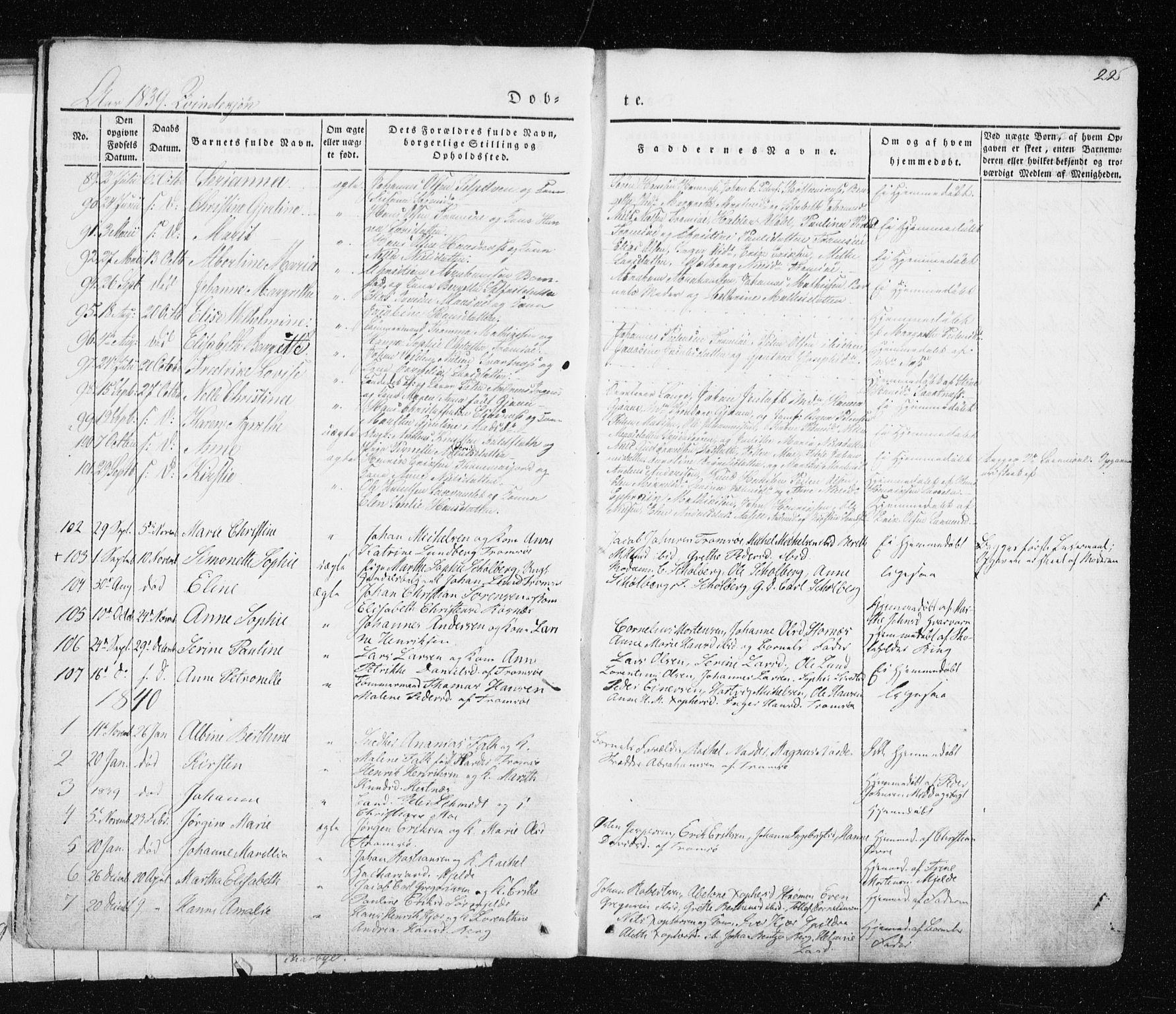 SATØ, Tromsø sokneprestkontor/stiftsprosti/domprosti, G/Ga/L0009kirke: Ministerialbok nr. 9, 1837-1847, s. 22