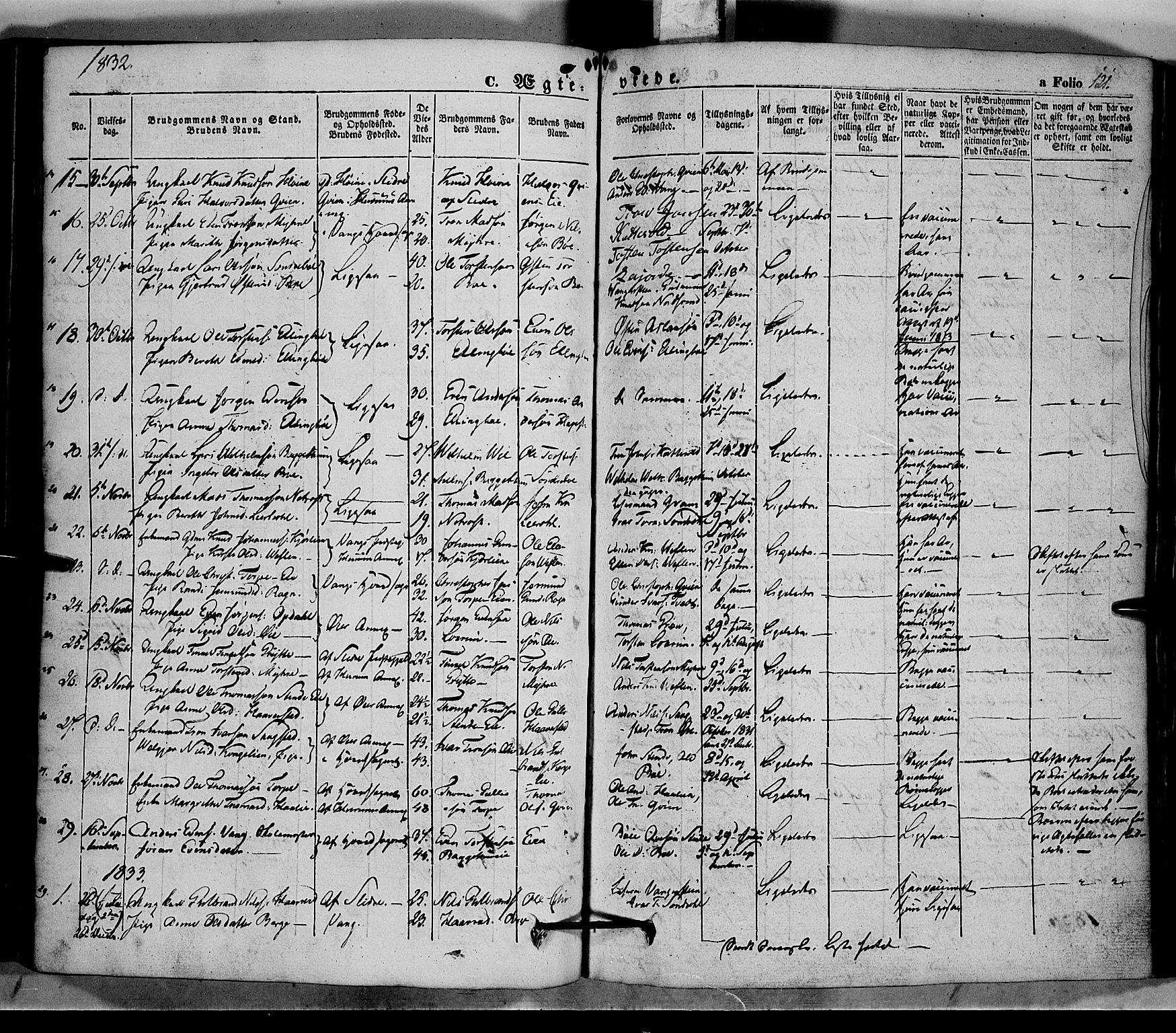 SAH, Vang prestekontor, Valdres, Ministerialbok nr. 5, 1831-1845, s. 121