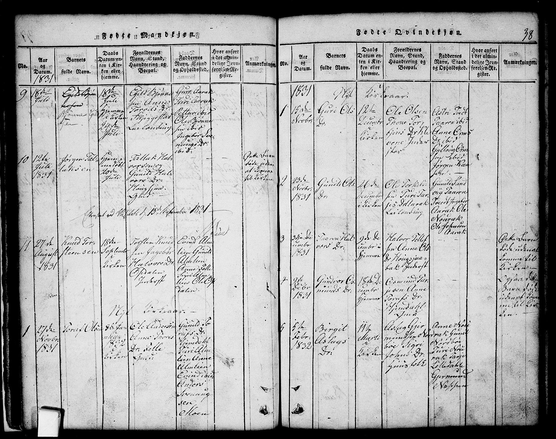 SAKO, Nissedal kirkebøker, G/Gb/L0001: Klokkerbok nr. II 1, 1814-1862, s. 38