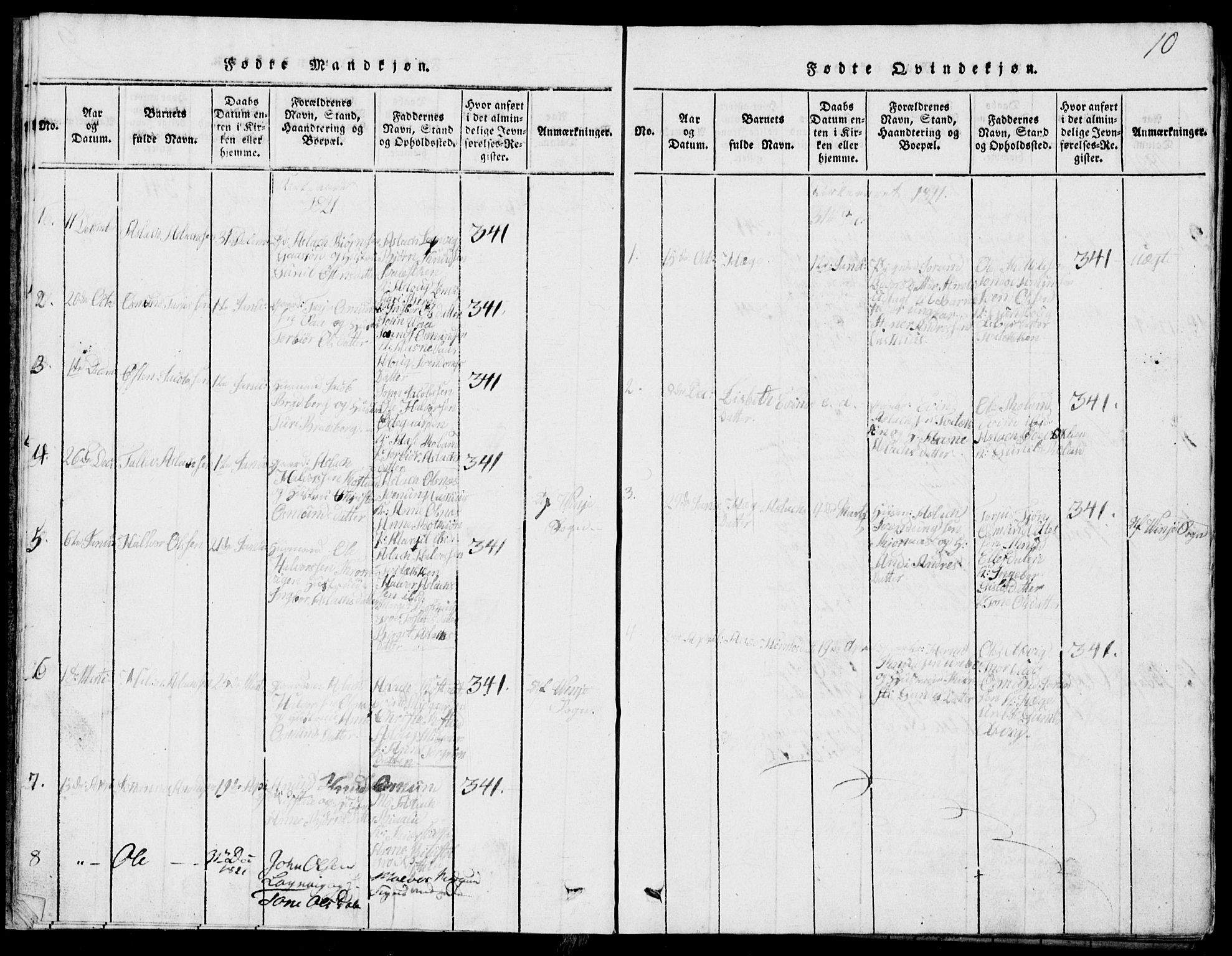 SAKO, Rauland kirkebøker, G/Ga/L0001: Klokkerbok nr. I 1, 1814-1843, s. 10