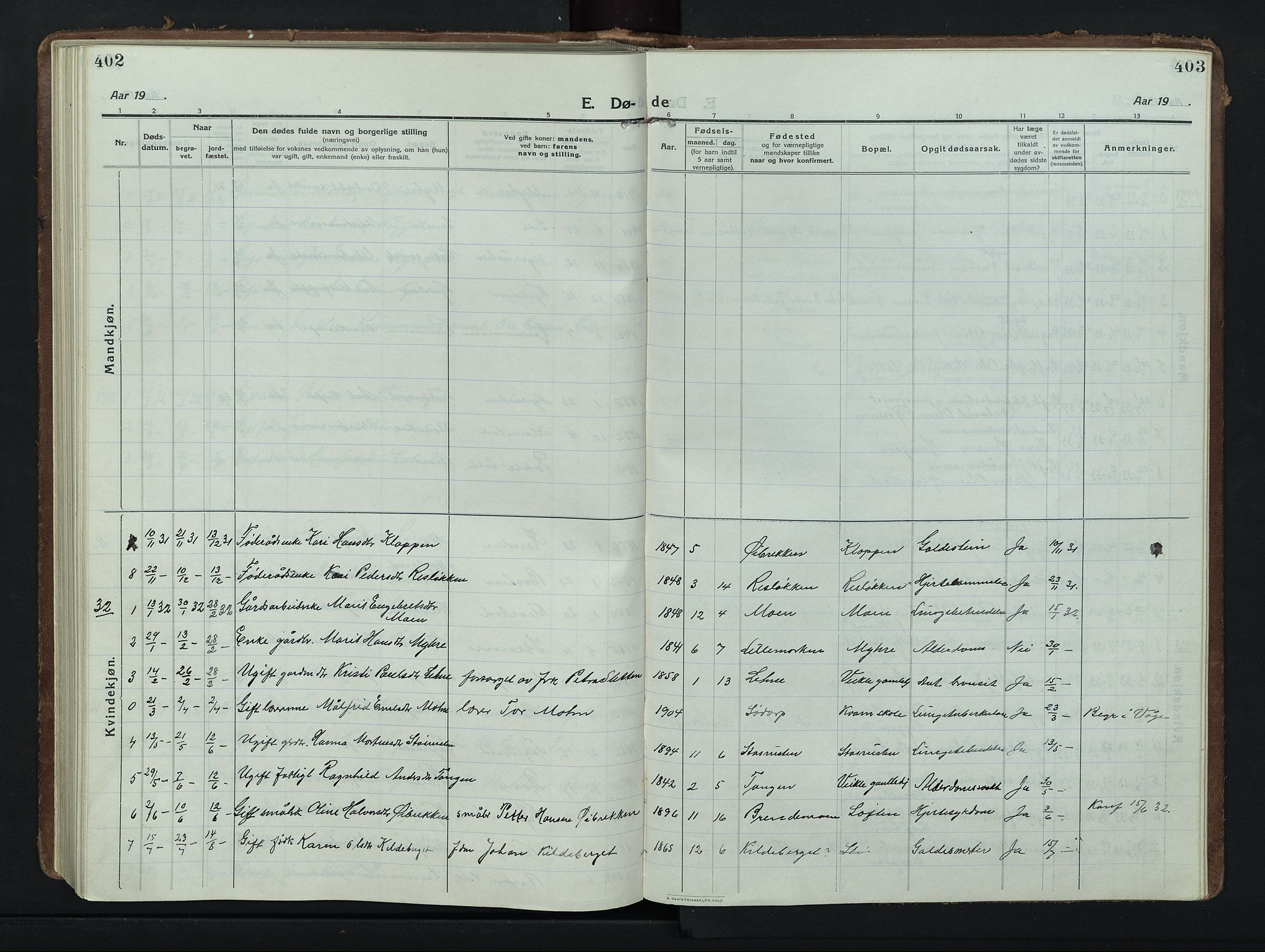 SAH, Nord-Fron prestekontor, Klokkerbok nr. 8, 1915-1948, s. 402-403