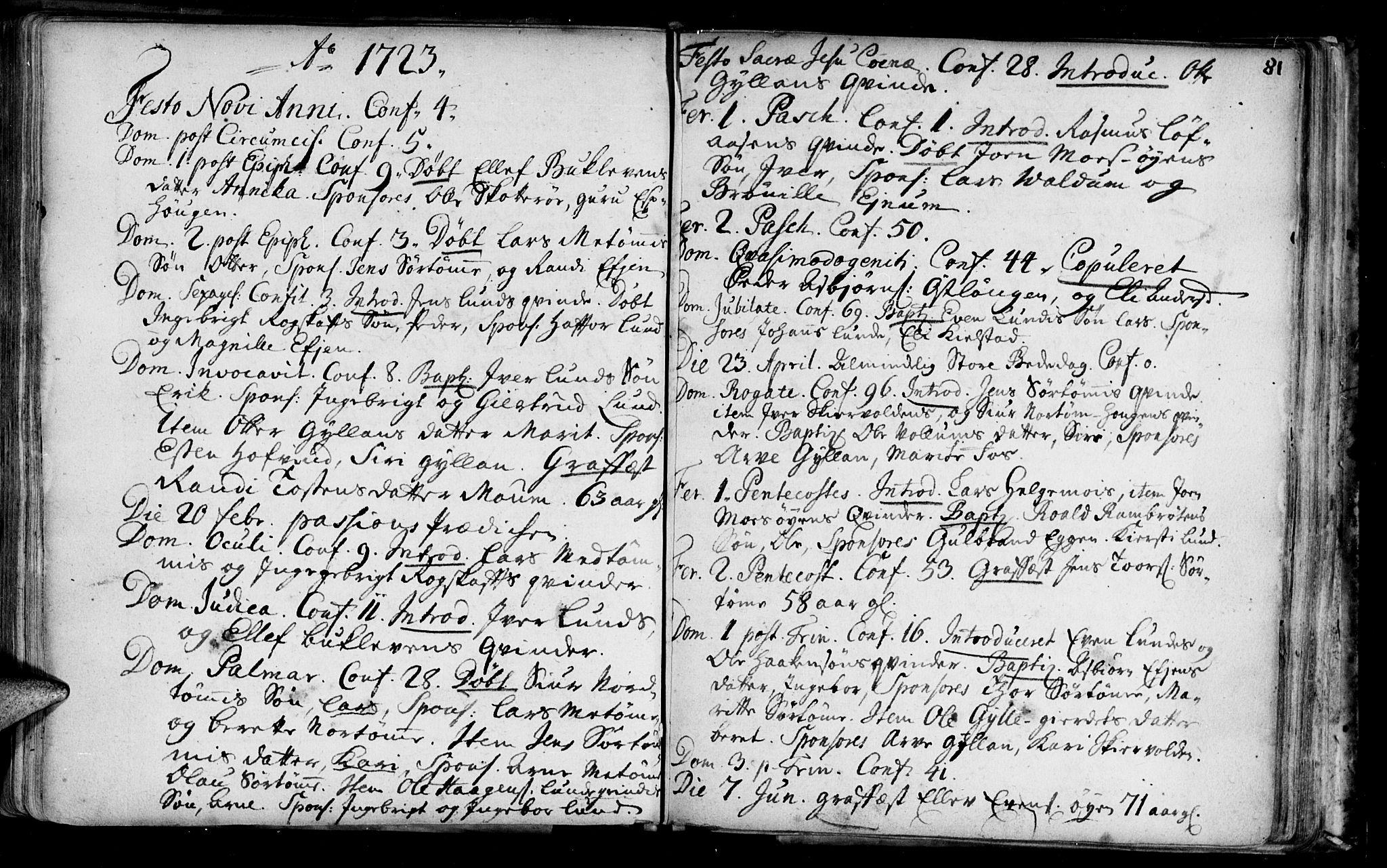 SAT, Ministerialprotokoller, klokkerbøker og fødselsregistre - Sør-Trøndelag, 692/L1101: Ministerialbok nr. 692A01, 1690-1746, s. 81
