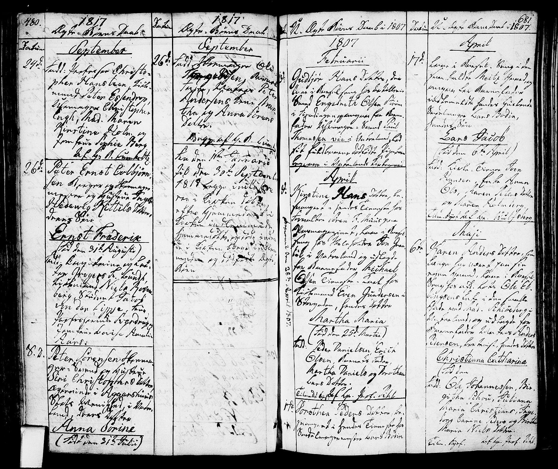 SAO, Oslo domkirke Kirkebøker, F/Fa/L0006: Ministerialbok nr. 6, 1807-1817, s. 480